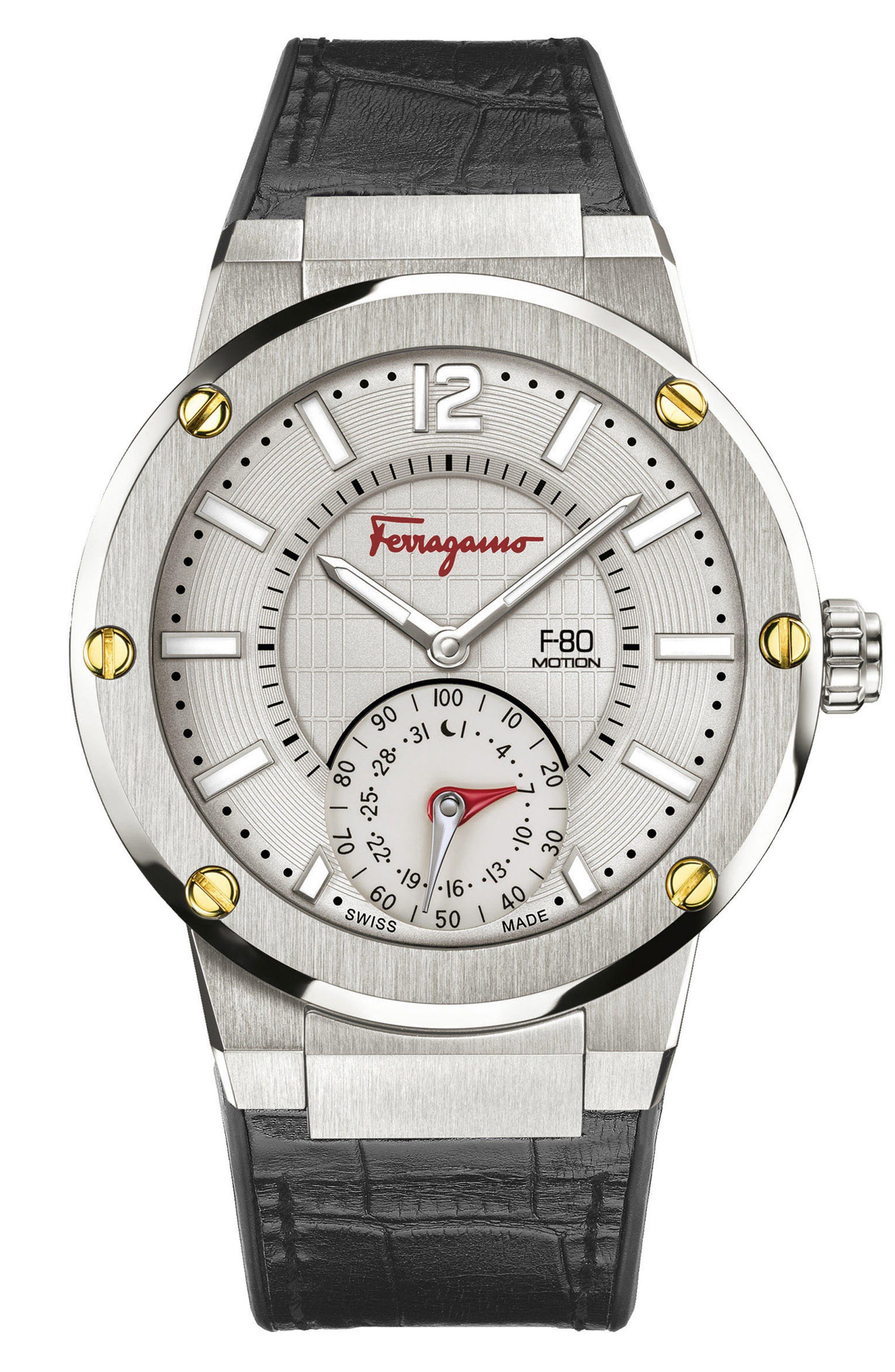 SALVATORE FERRAGAMO 'F-80 Motion' Leather Strap Smart Watch, 44mm, Main, color, BLACK/ GREY/ SILVER
