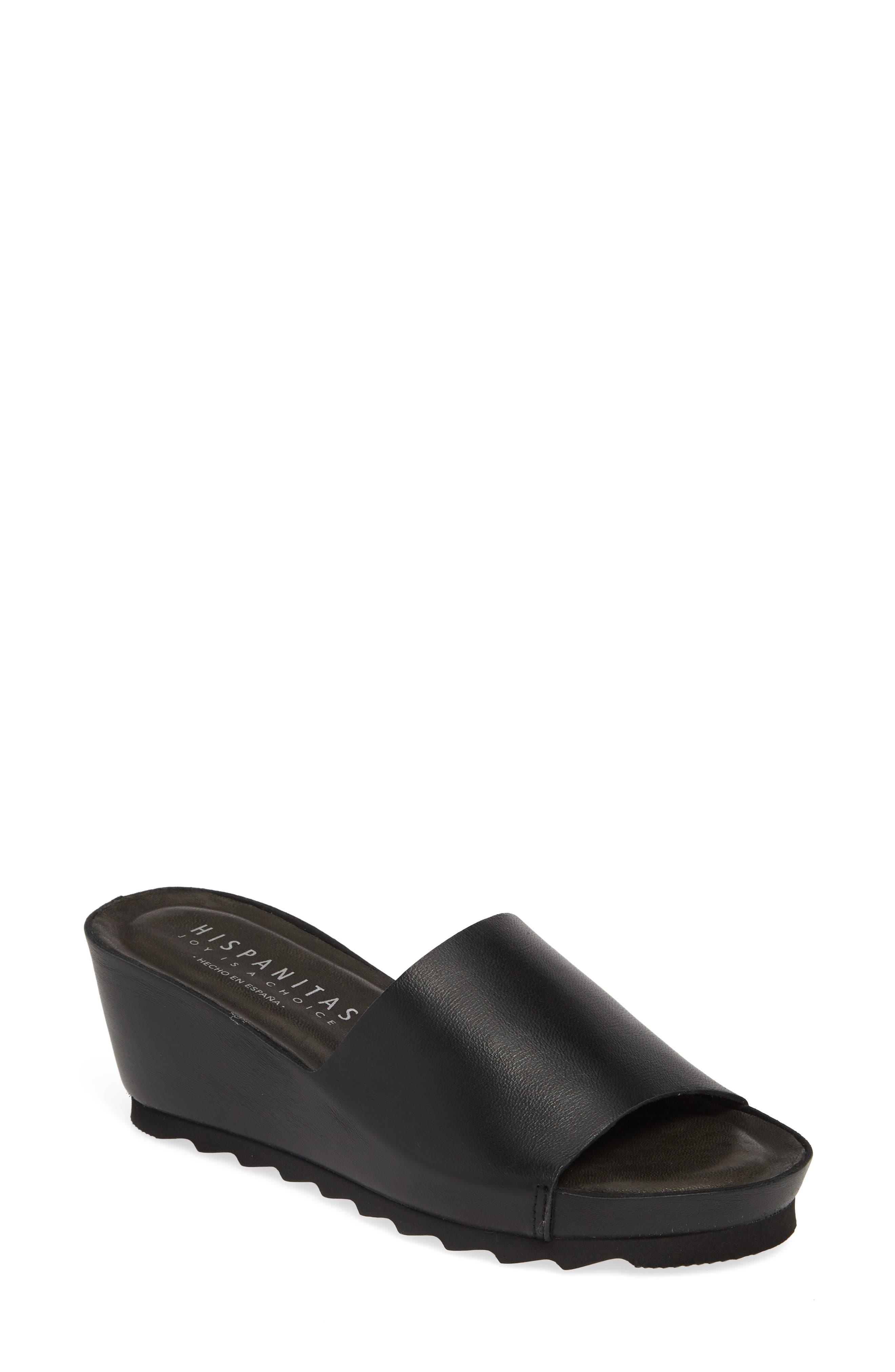 HISPANITAS Vega Slide Sandal, Main, color, BLACK LEATHER