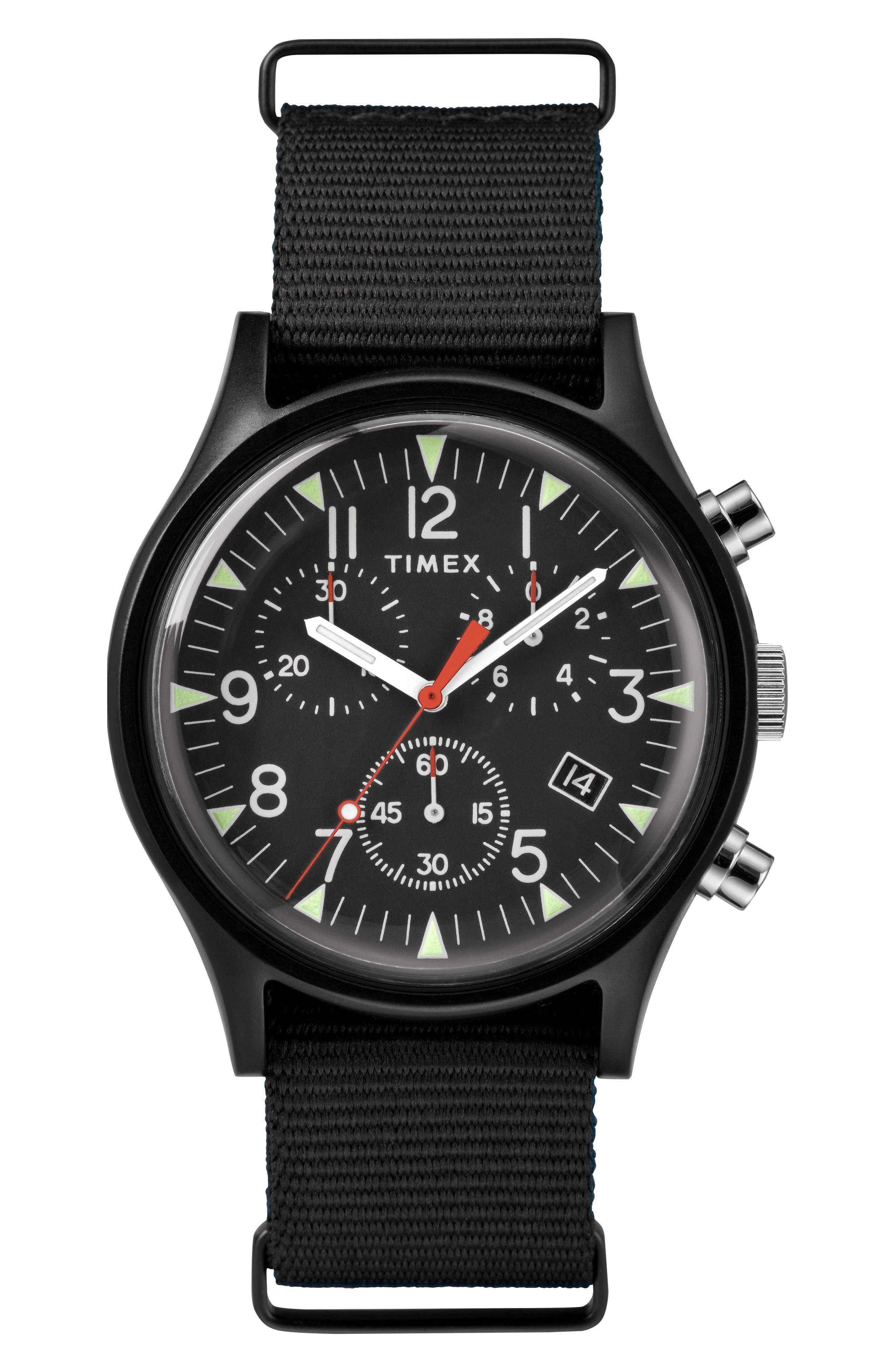 TIMEX<SUP>®</SUP> MK1 Chronograph Nylon Strap Watch, Main, color, BLACK