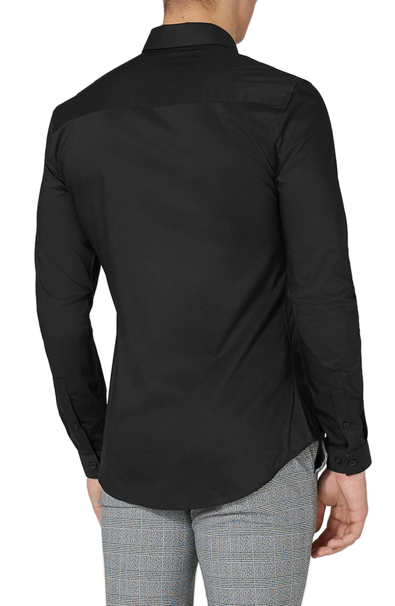 TOPMAN, Muscle Fit Stretch Poplin Shirt, Alternate thumbnail 2, color, BLACK