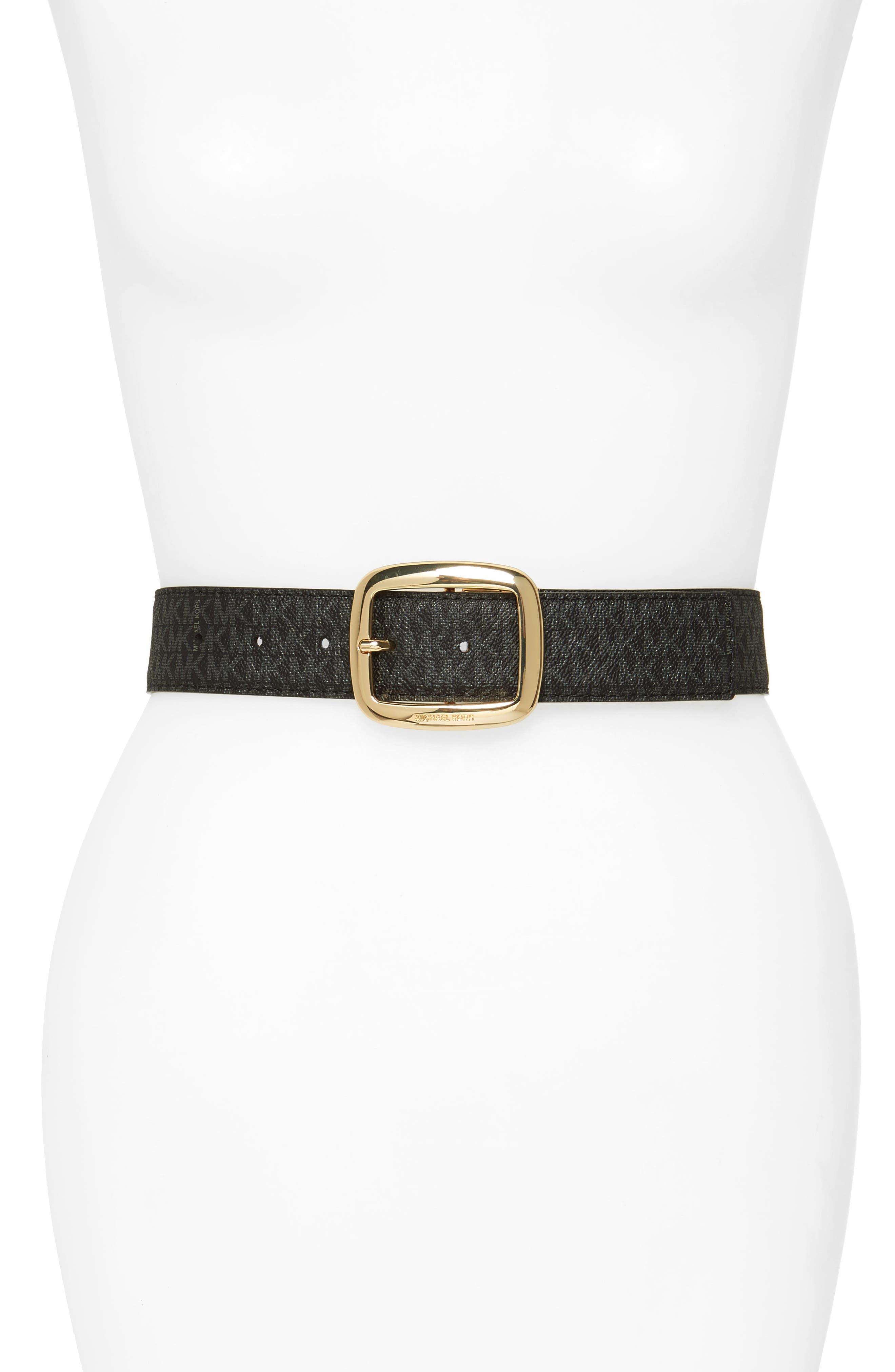 MICHAEL MICHAEL KORS, Logo Reversible Calfskin Leather Belt, Main thumbnail 1, color, BLACK/ ACORN