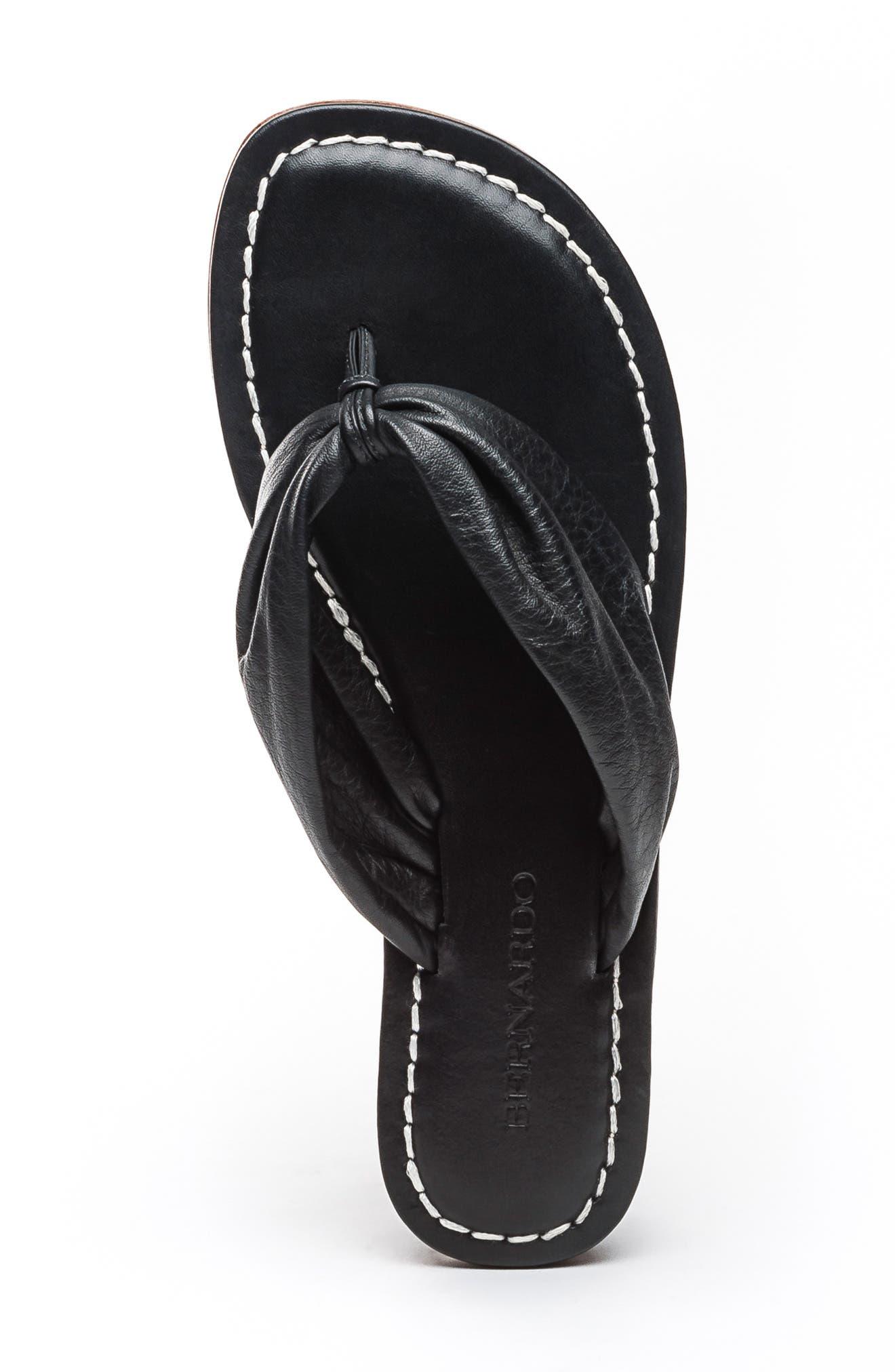 BERNARDO, Mila Flip Flop, Alternate thumbnail 5, color, BLACK
