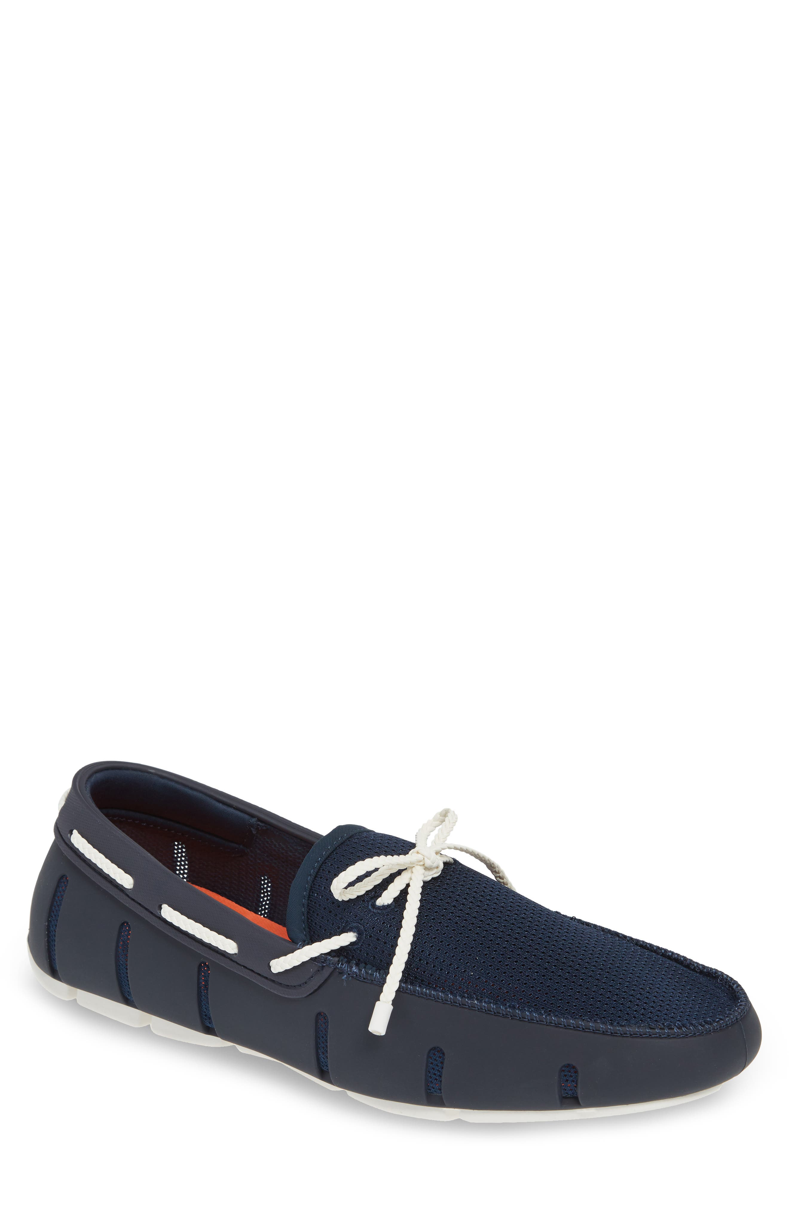 SWIMS, Lace Loafer, Main thumbnail 1, color, DARK NAVY/ WHITE
