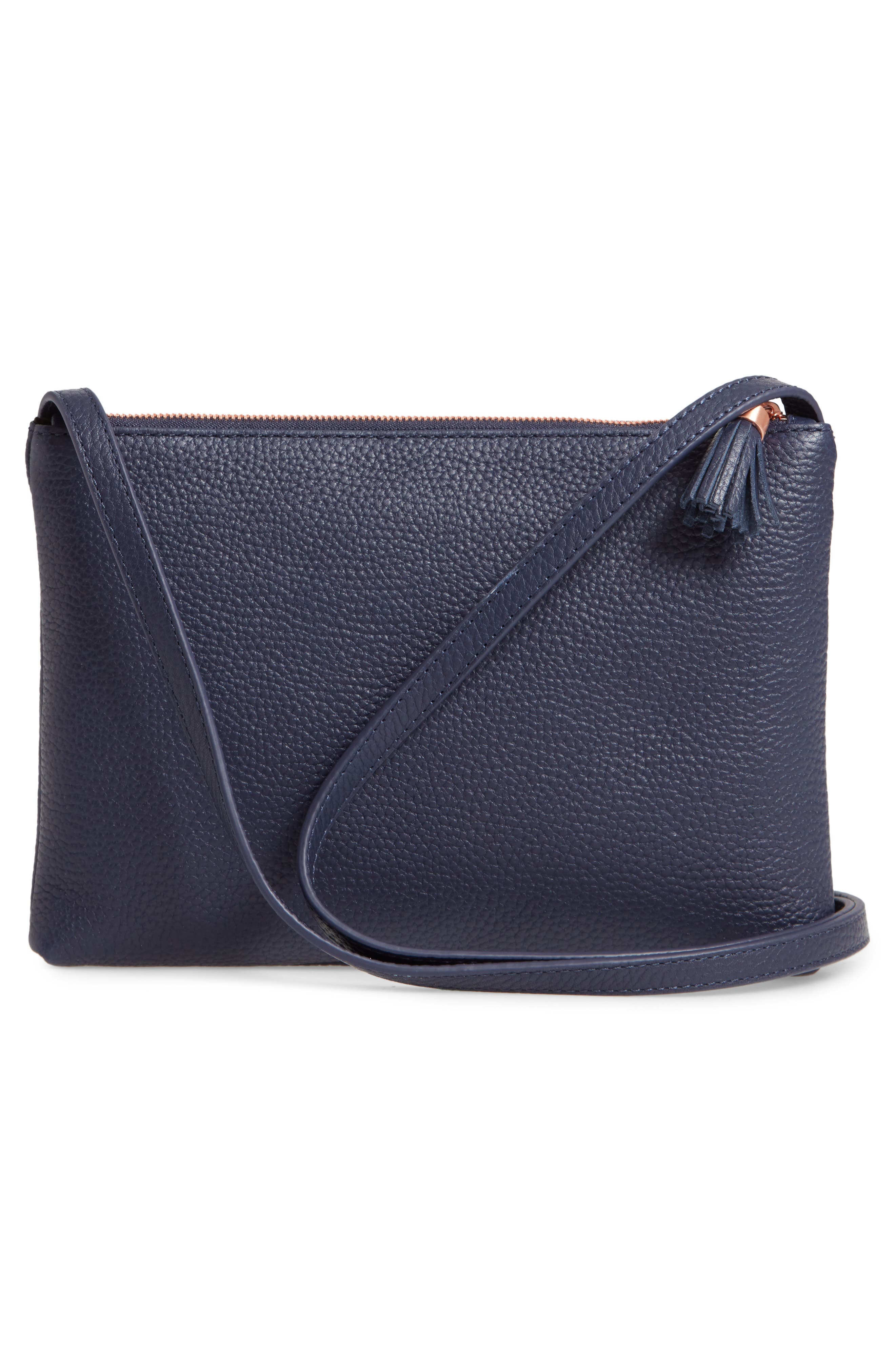 TED BAKER LONDON, Maceyy Double Zip Leather Crossbody Bag, Alternate thumbnail 4, color, NAVY