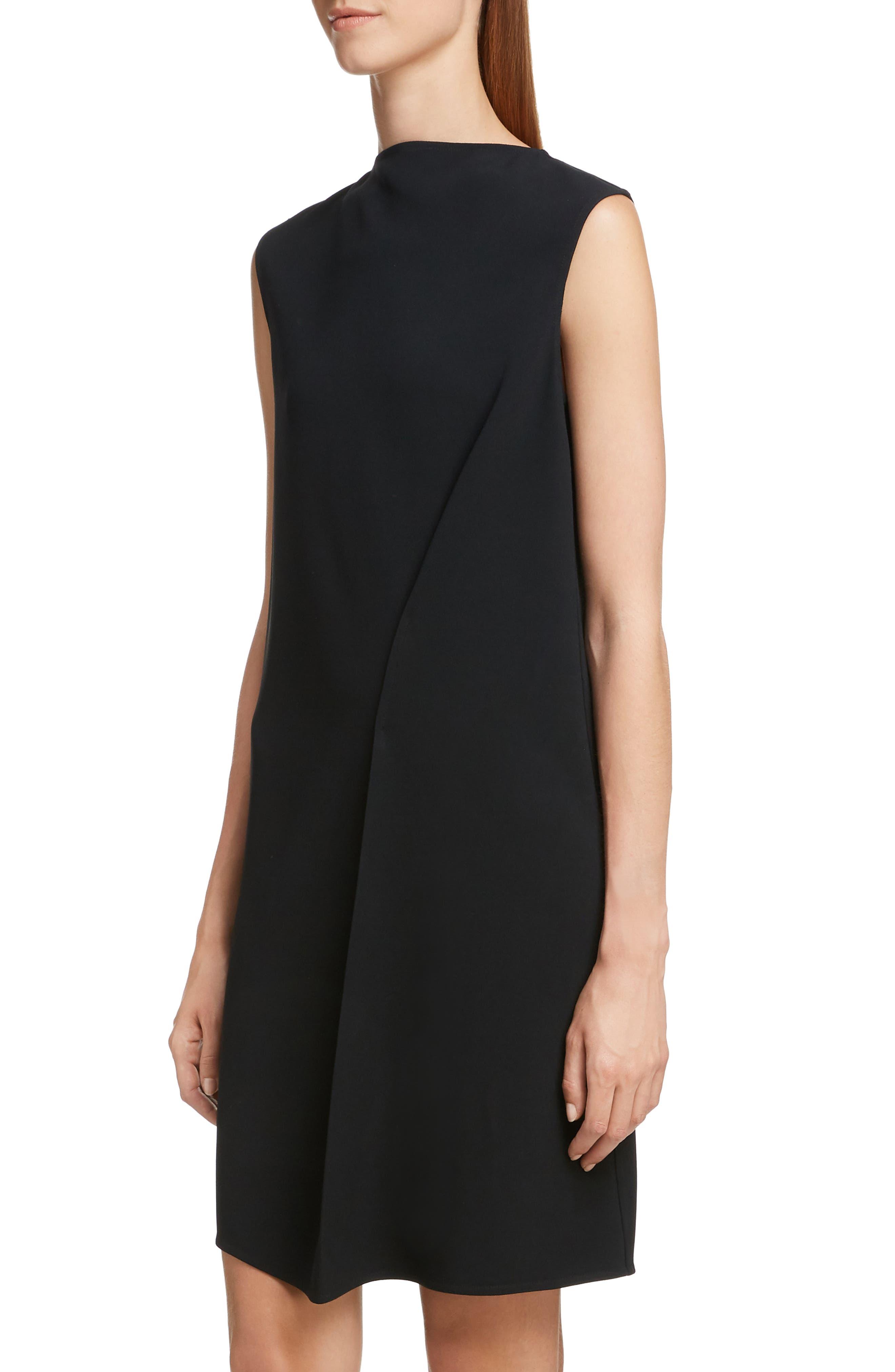 VICTORIA BECKHAM, Asymmetrical Pleat Shift Dress, Alternate thumbnail 4, color, BLACK