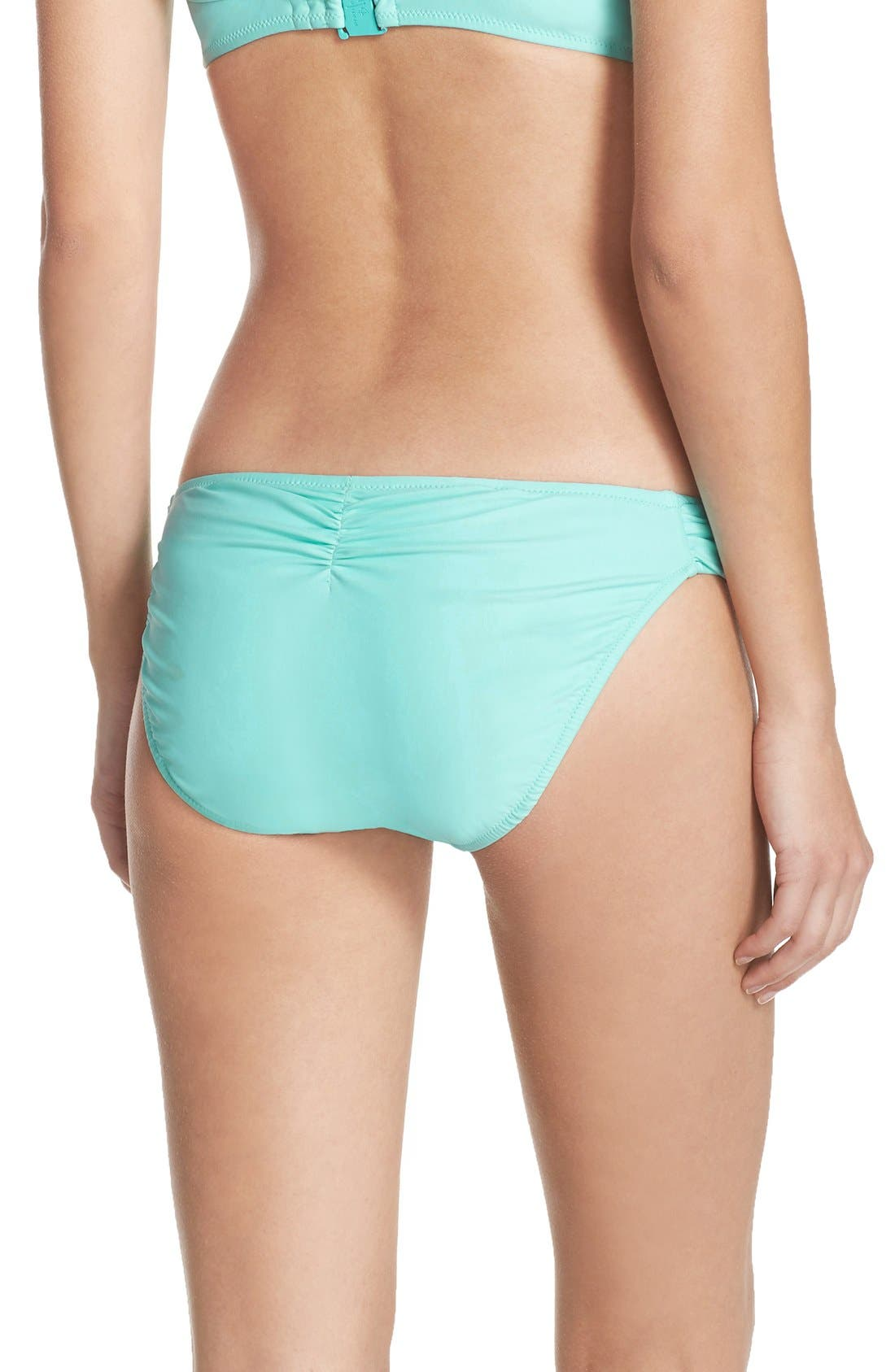 BLUSH BY PROFILE, Shirred Bikini Bottoms, Alternate thumbnail 3, color, 440