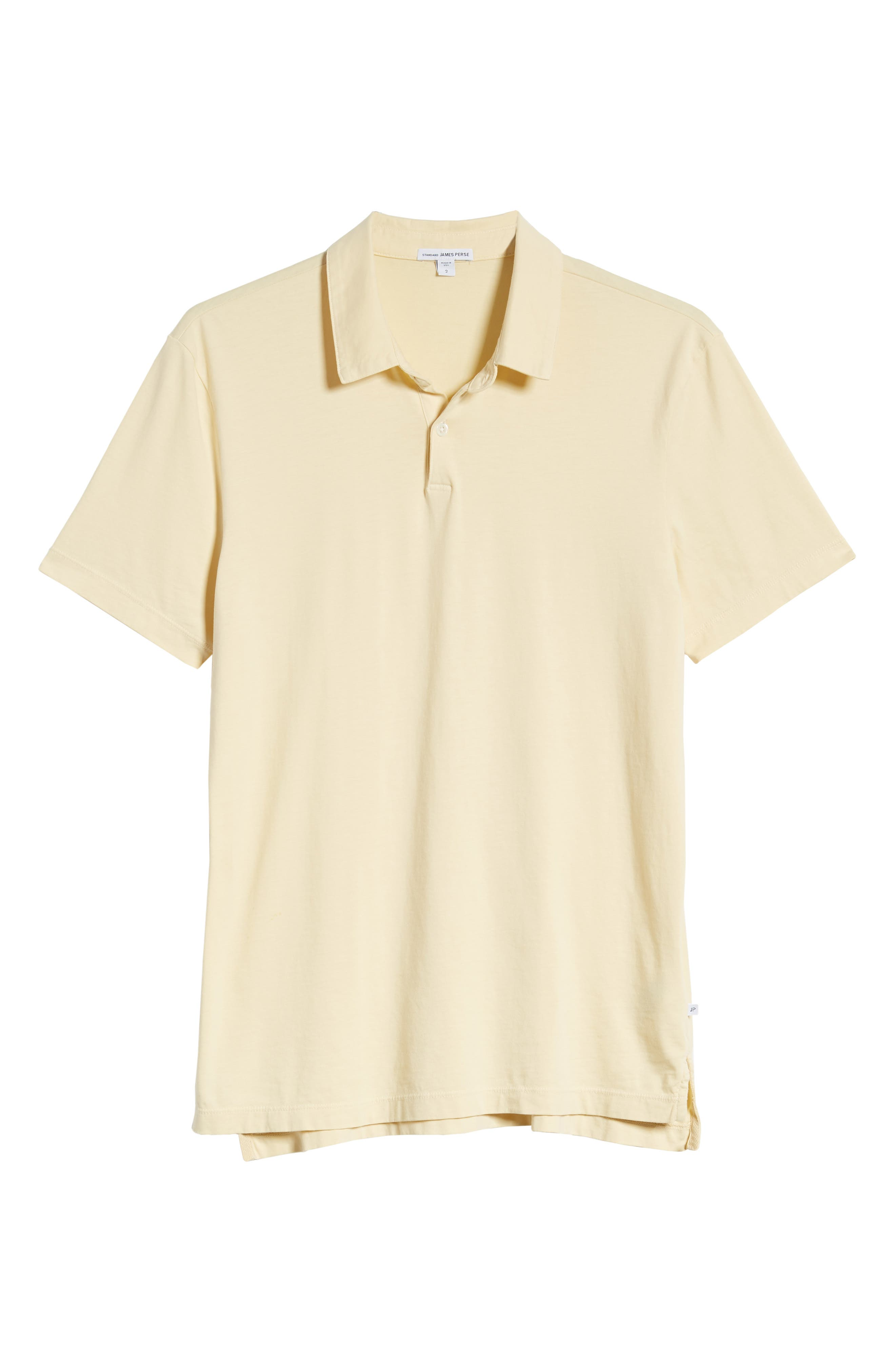 JAMES PERSE, Slim Fit Sueded Jersey Polo, Alternate thumbnail 6, color, GESSO