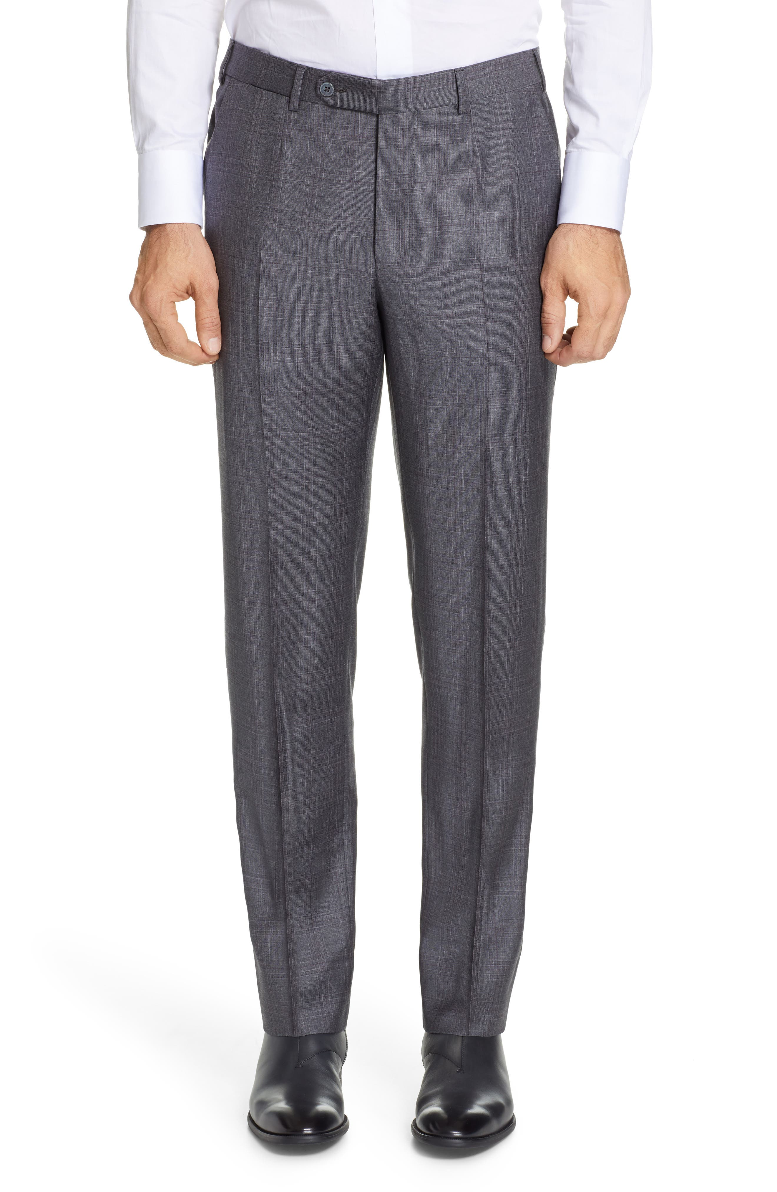 ERMENEGILDO ZEGNA, Milano Trofeo Classic Fit Plaid Wool Suit, Alternate thumbnail 6, color, GREY