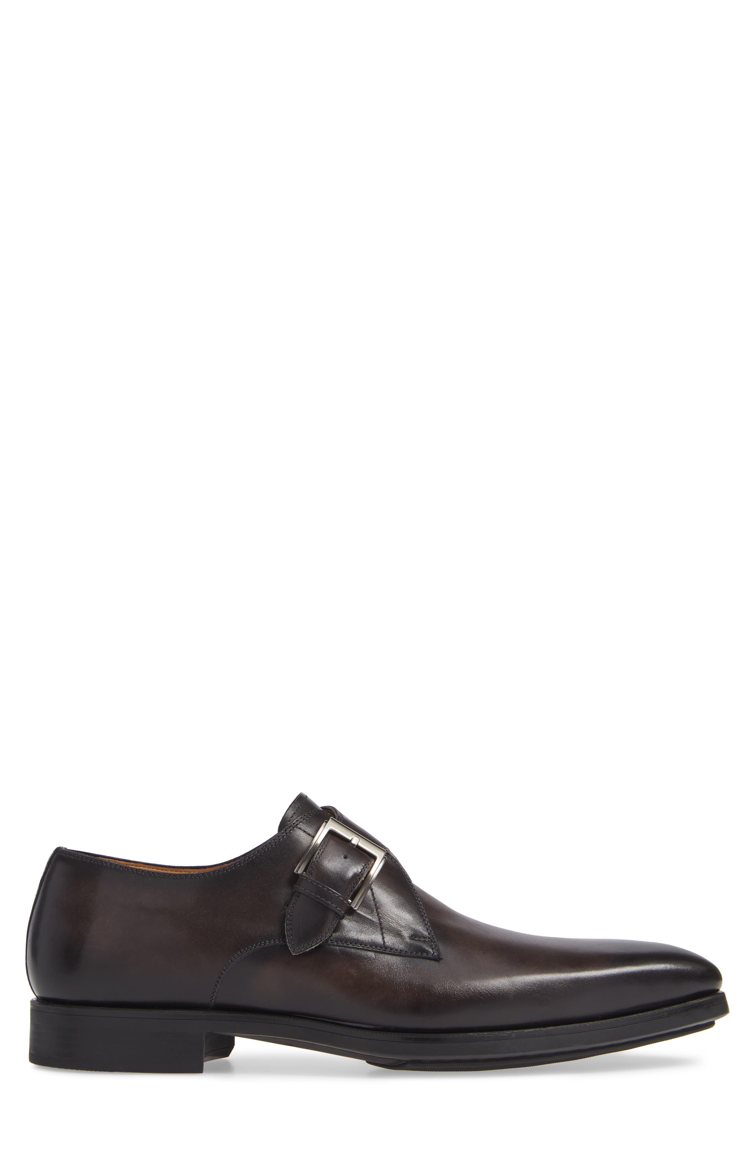 MAGNANNI, Roddy Diversa Plain Toe Monk Strap Shoe, Alternate thumbnail 3, color, GREY LEATHER