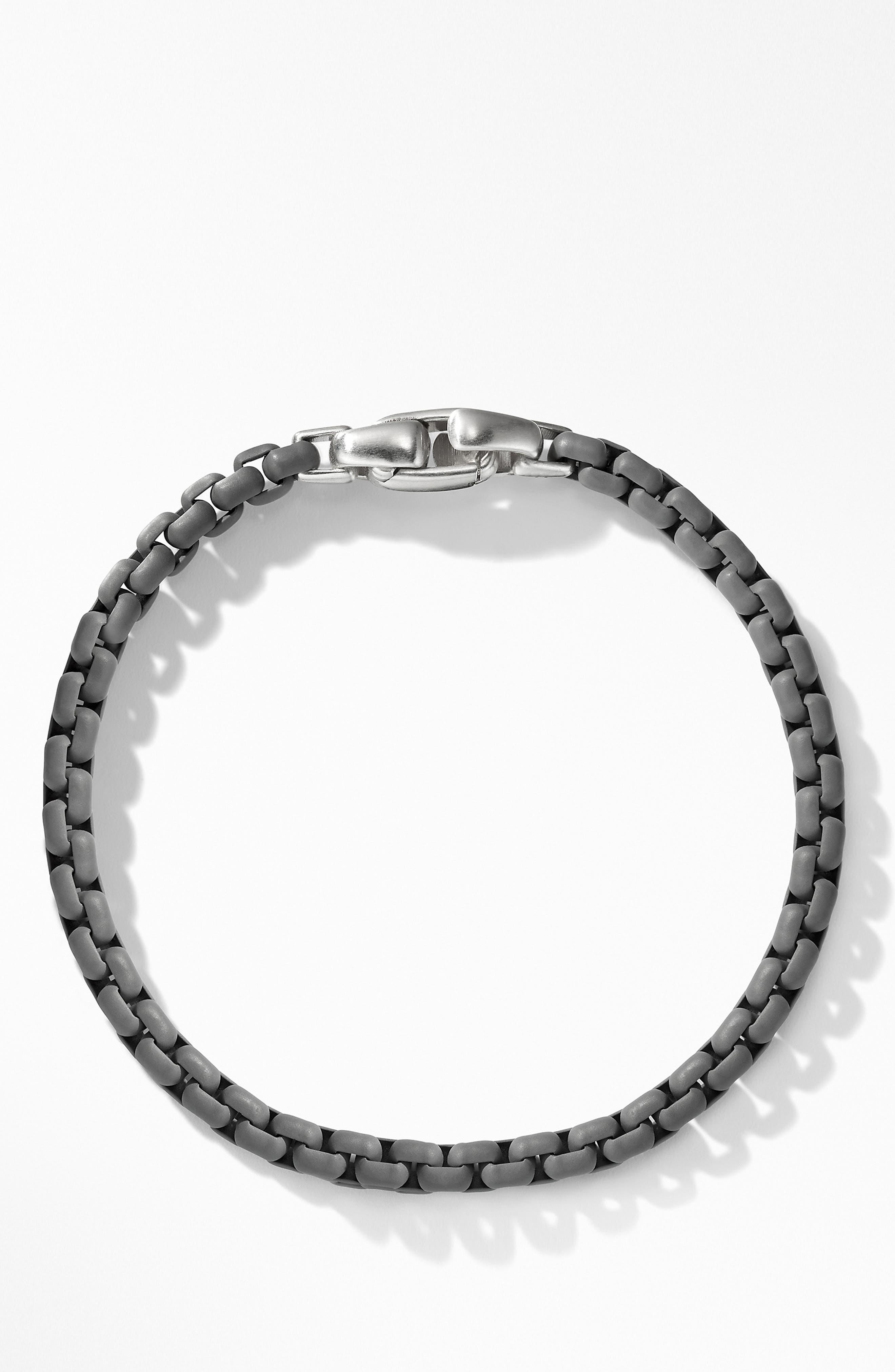 DAVID YURMAN, Box Chain Bracelet, Main thumbnail 1, color, GREY