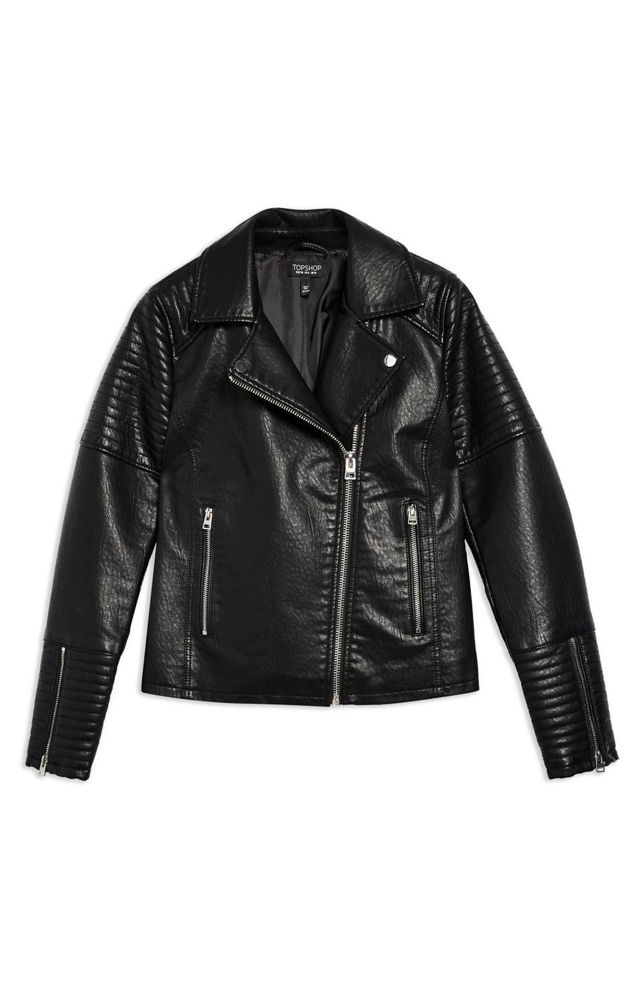 TOPSHOP, Rosa Biker Jacket, Alternate thumbnail 5, color, BLACK