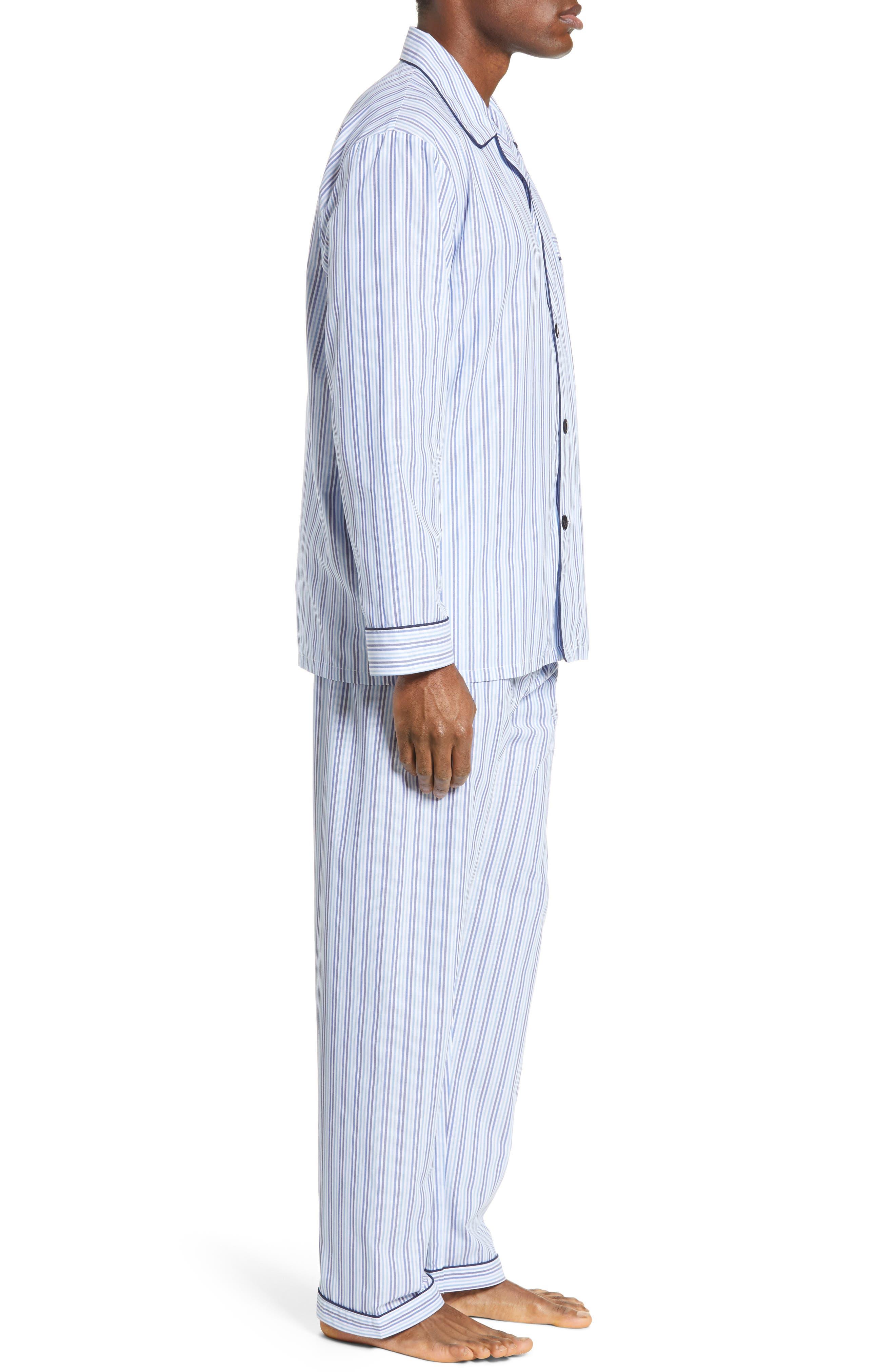 MAJESTIC INTERNATIONAL, Easy Care Pajamas, Alternate thumbnail 3, color, SKY BLUE