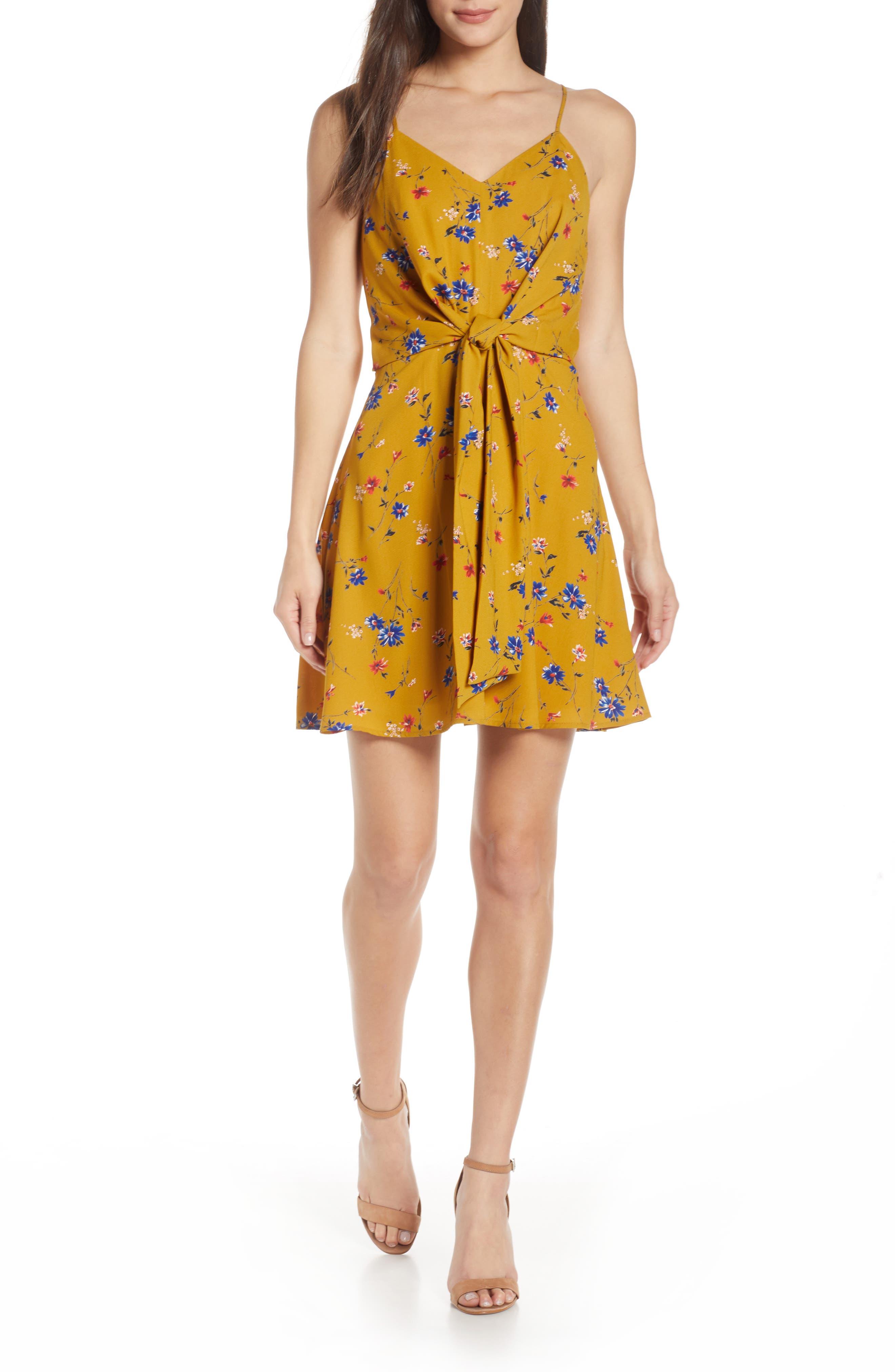 19 COOPER, Floral Print Tie Front Dress, Main thumbnail 1, color, MUSTARD FLORAL
