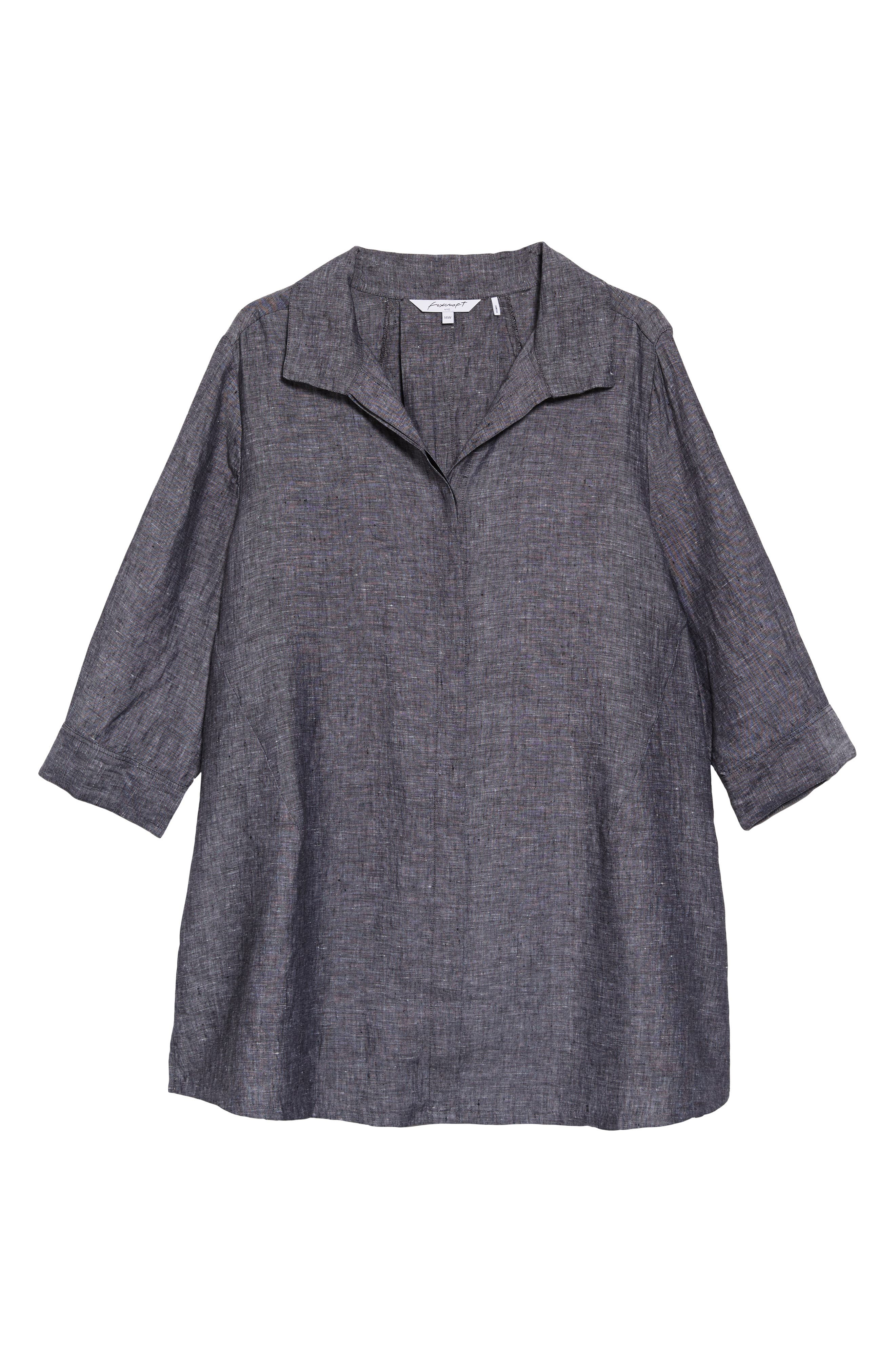FOXCROFT, Chambray Linen Tunic Shirt, Alternate thumbnail 6, color, BLACK