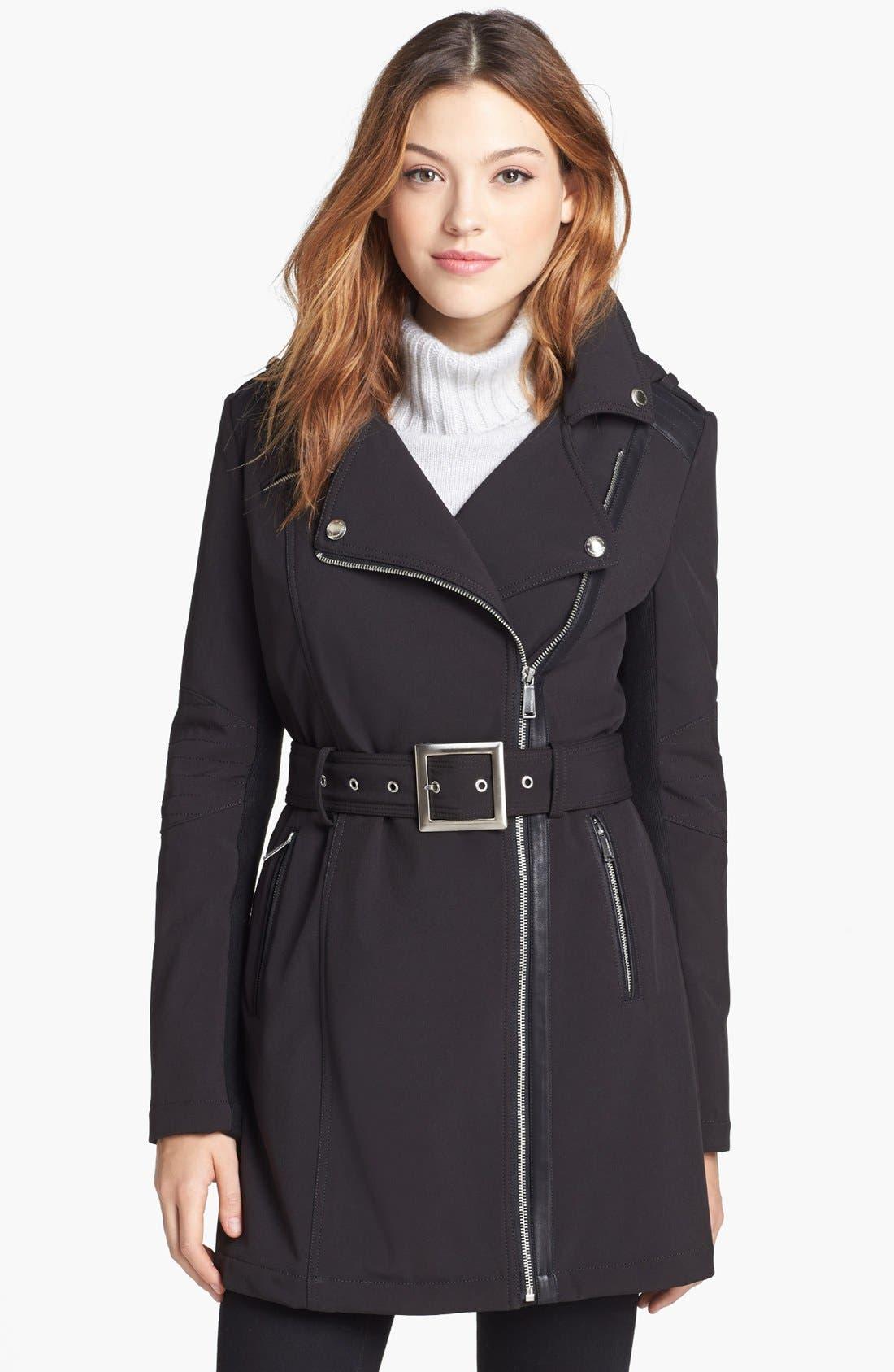 BCBGENERATION Asymmetrical Belted Softshell Jacket, Main, color, 001
