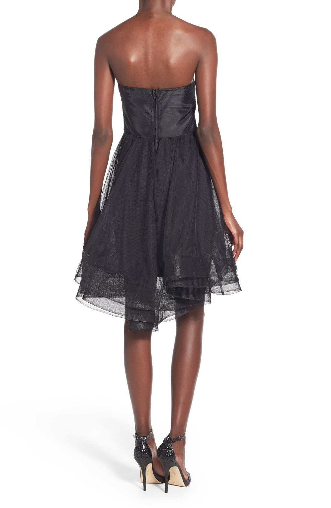 WAY-IN, 'Susie' Embellished Waist Tulle Strapless Dress, Alternate thumbnail 3, color, 001