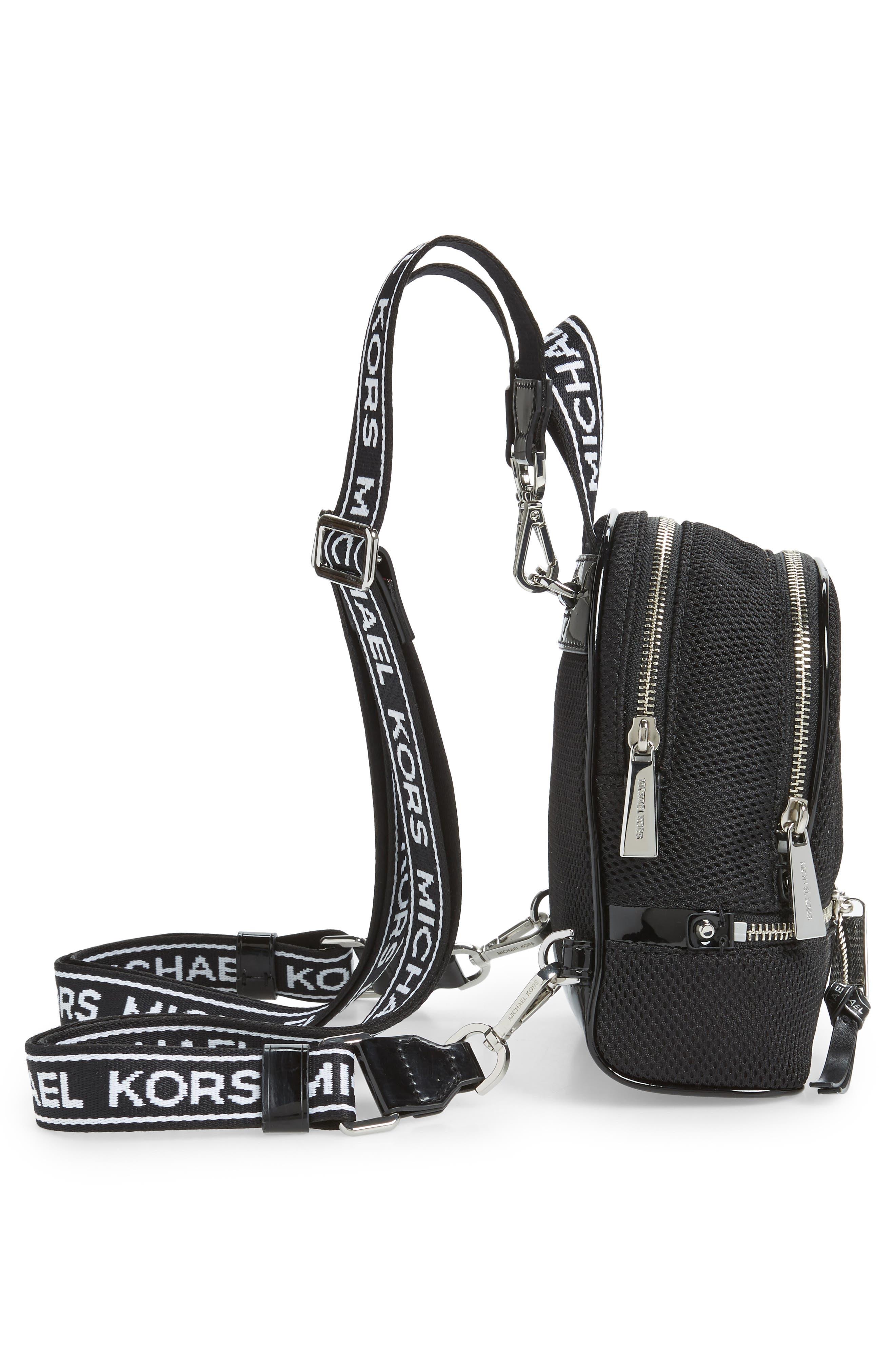 MICHAEL MICHAEL KORS, Extra Small Rhea Mesh Backpack, Alternate thumbnail 7, color, BLACK/ OPTIC WHITE