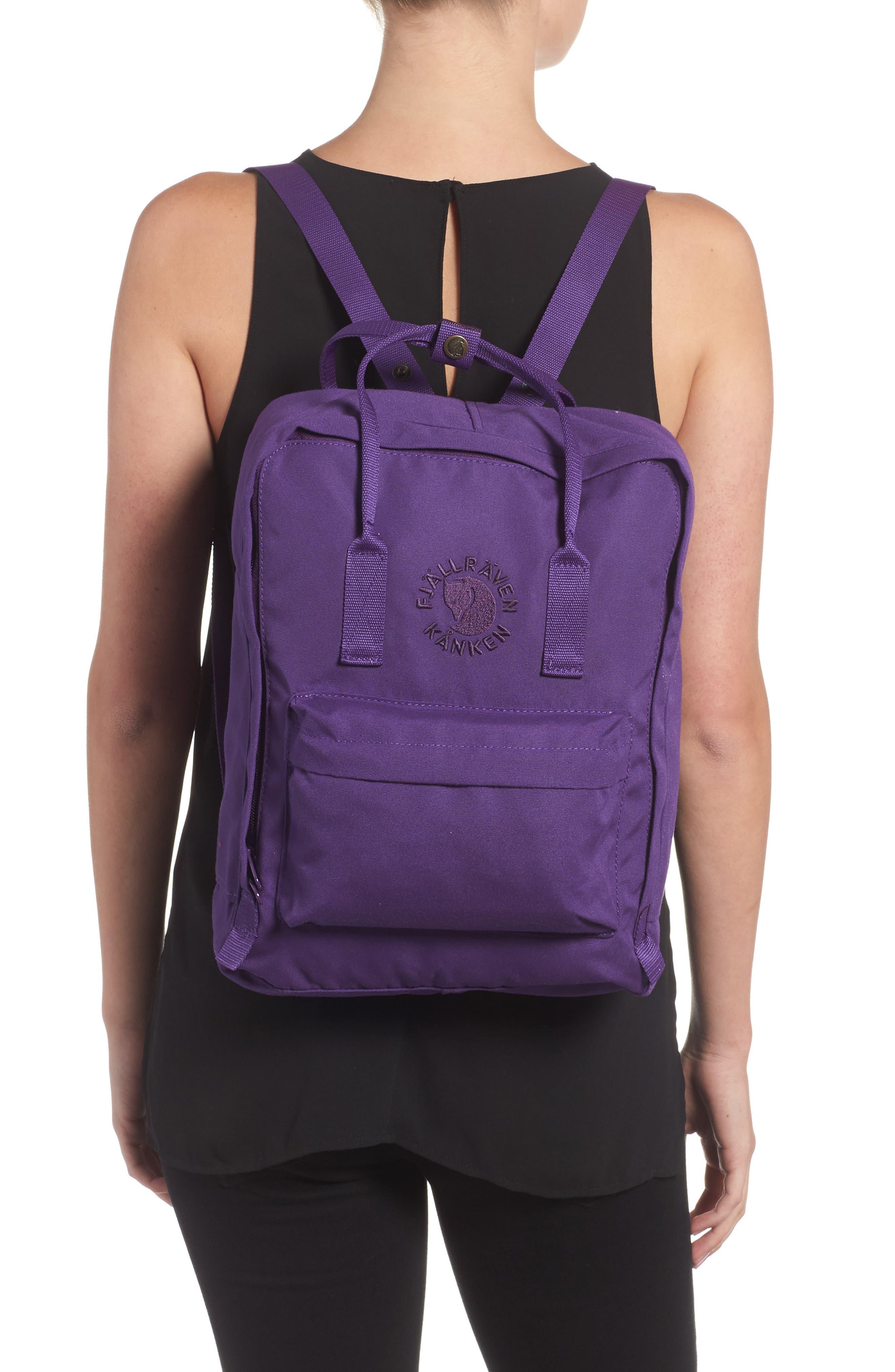 FJÄLLRÄVEN, Re-Kånken Water Resistant Backpack, Alternate thumbnail 2, color, DEEP VIOLET