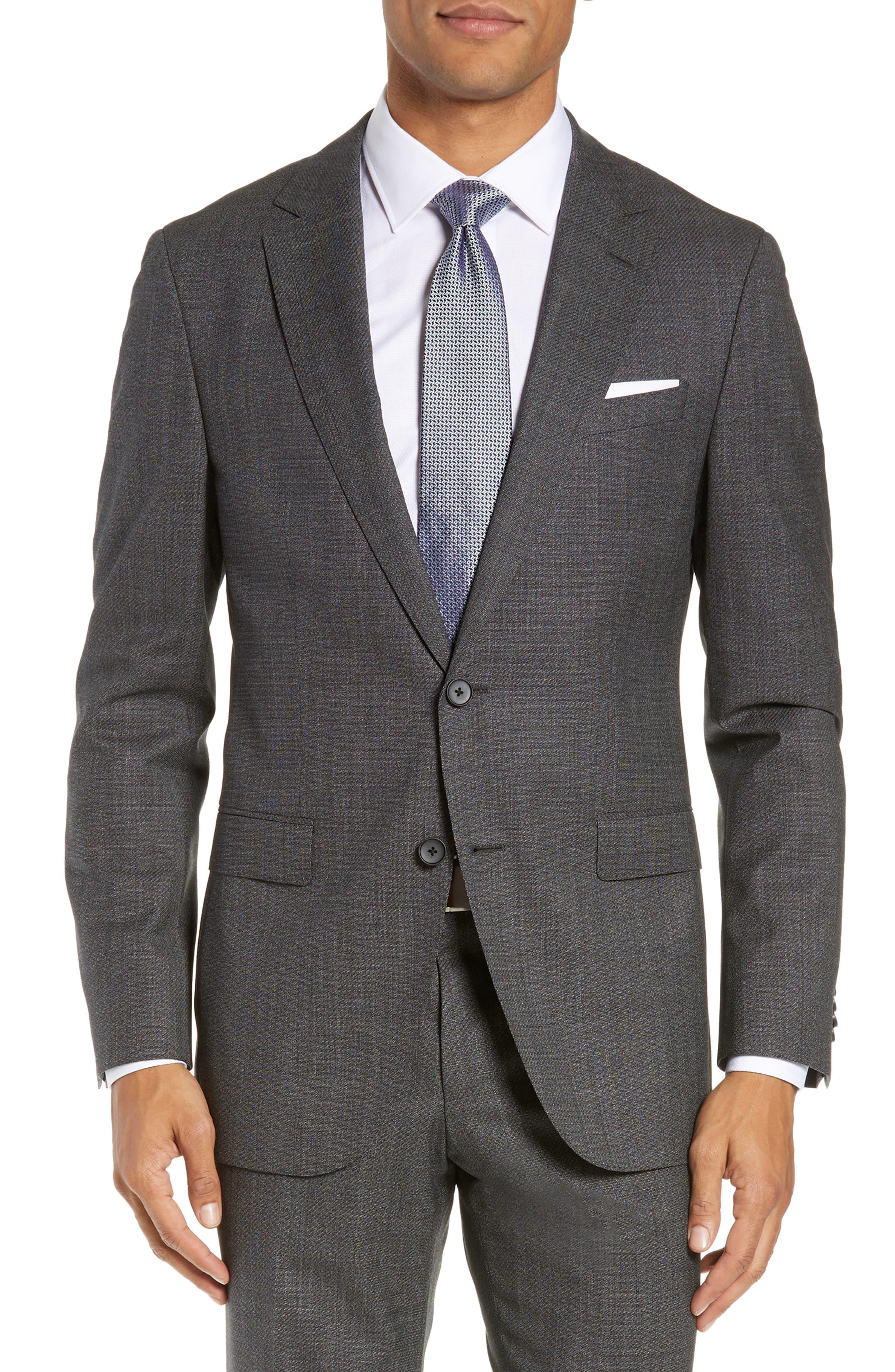 BOSS, Novan/Ben Slim Fit Solid Wool Suit, Alternate thumbnail 5, color, 063