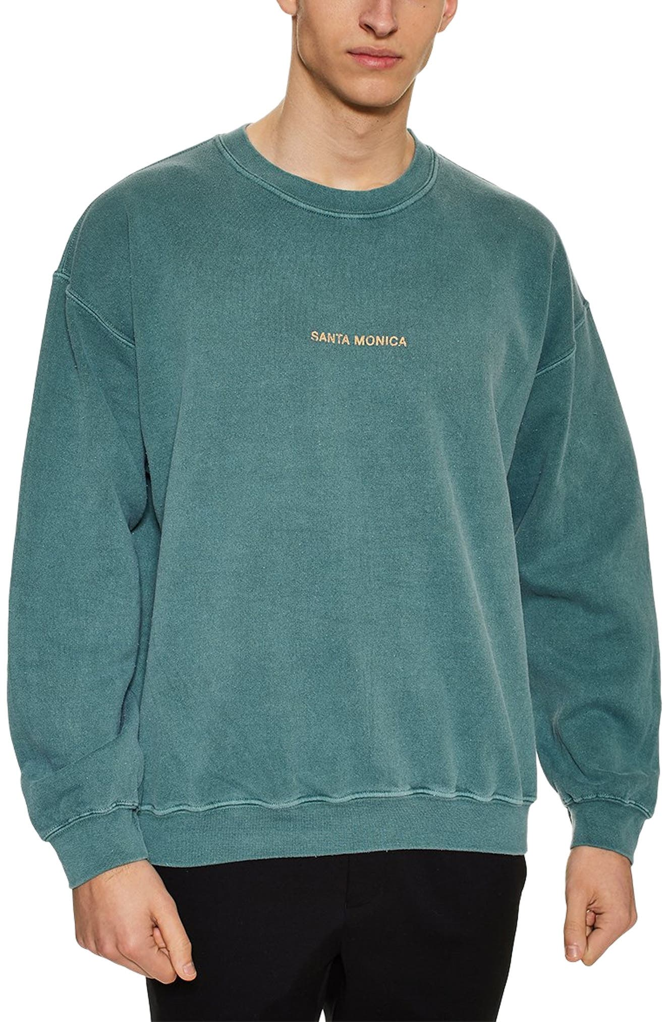 TOPMAN, Santa Monica Oversize Sweatshirt, Main thumbnail 1, color, GREEN