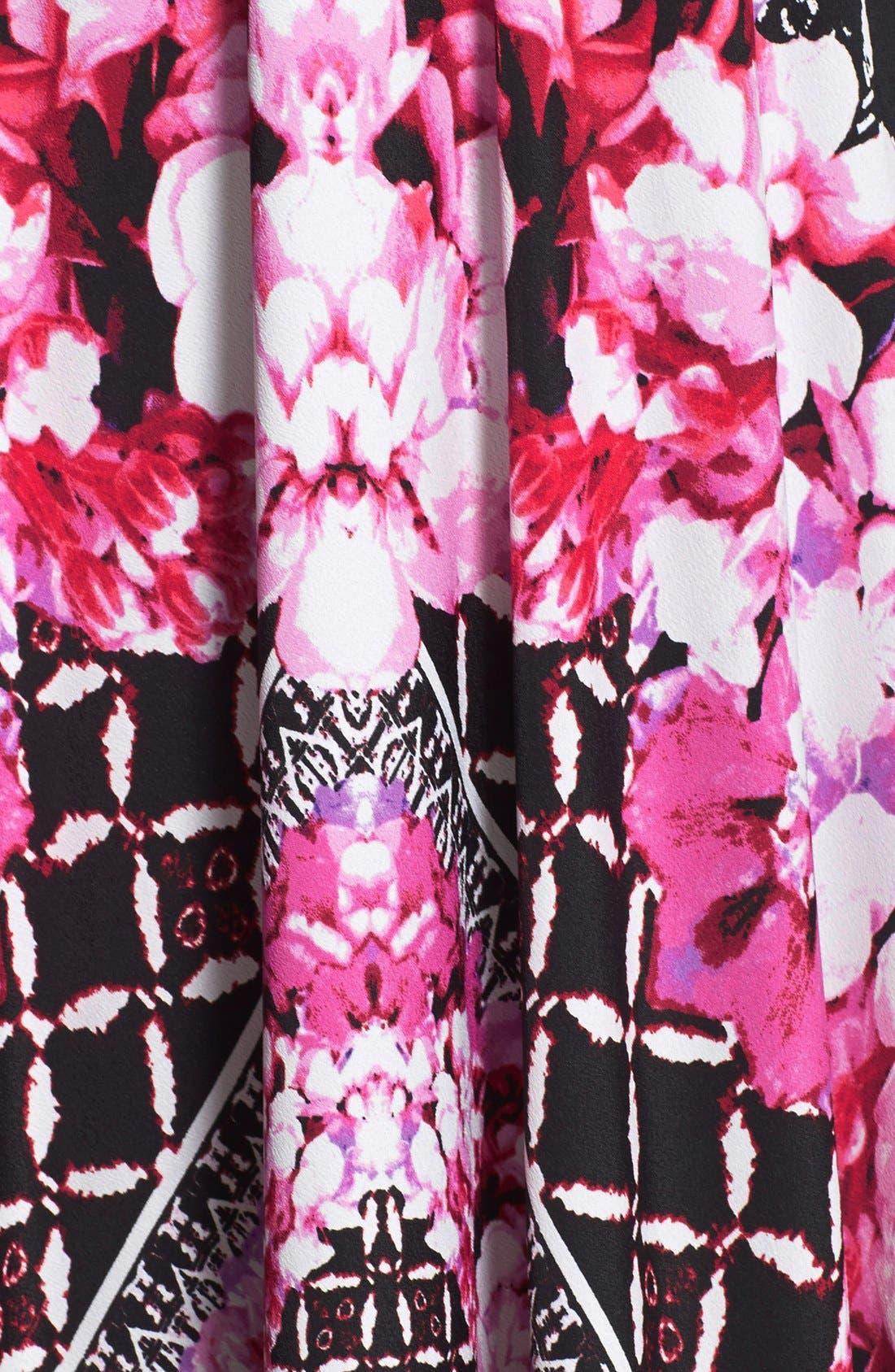 ELIZA J, Scarf Print Jersey & Crêpe de Chine Maxi Dress, Alternate thumbnail 8, color, 001
