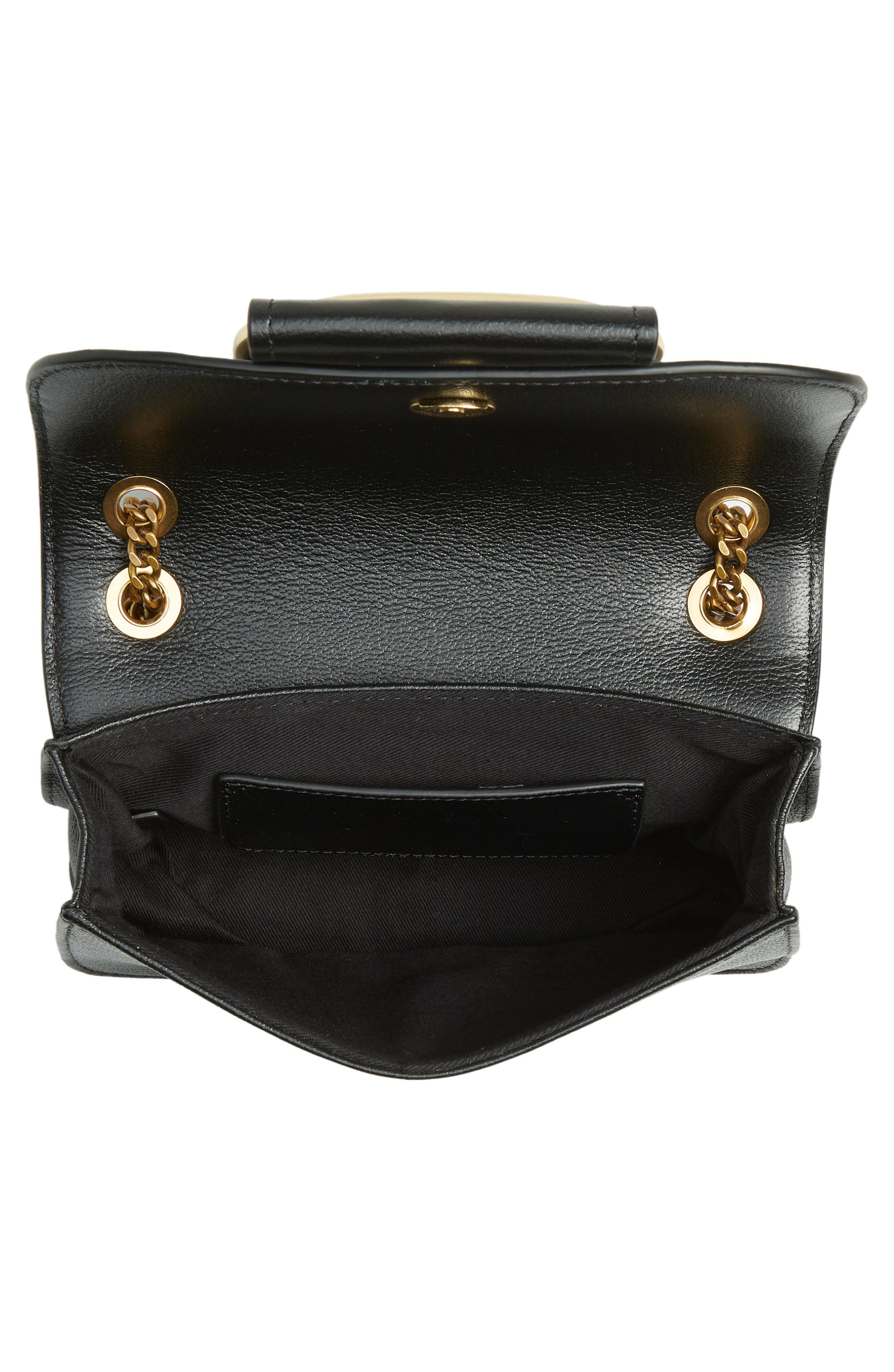 SEE BY CHLOÉ, Hopper Leather Shoulder Bag, Alternate thumbnail 5, color, 001