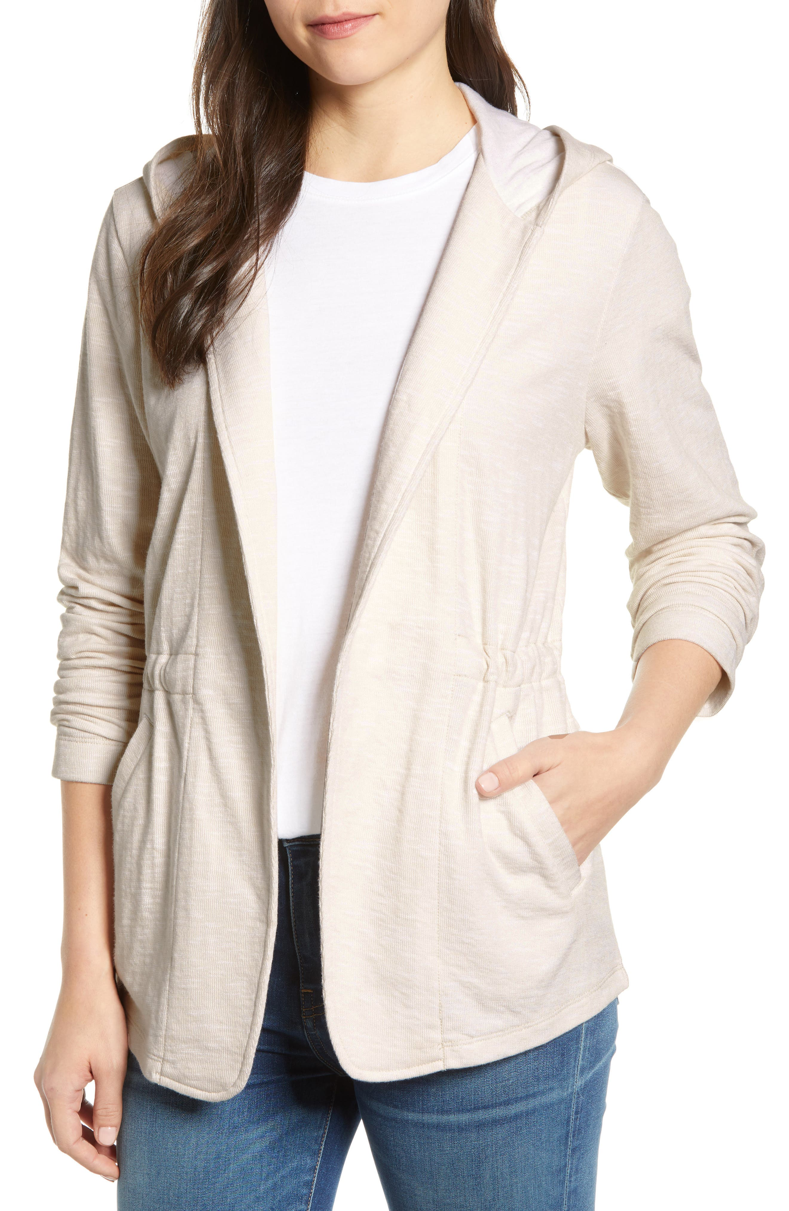 CASLON<SUP>®</SUP> Open Front Hooded Cardigan, Main, color, BEIGE- WHITE SPACEDYE
