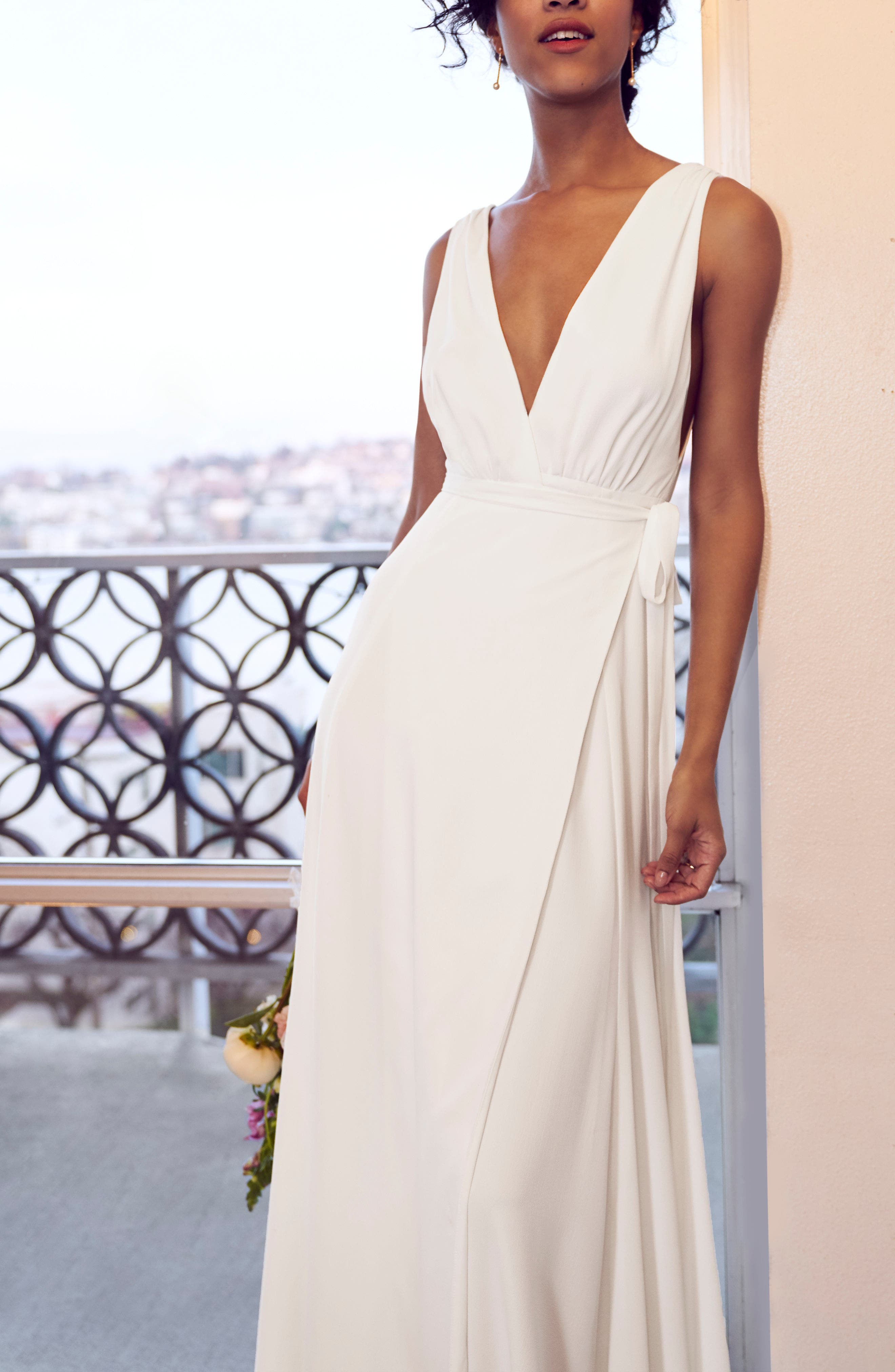 JOANNA AUGUST, Jagger Plunging Wrap Dress, Alternate thumbnail 9, color, WHITE