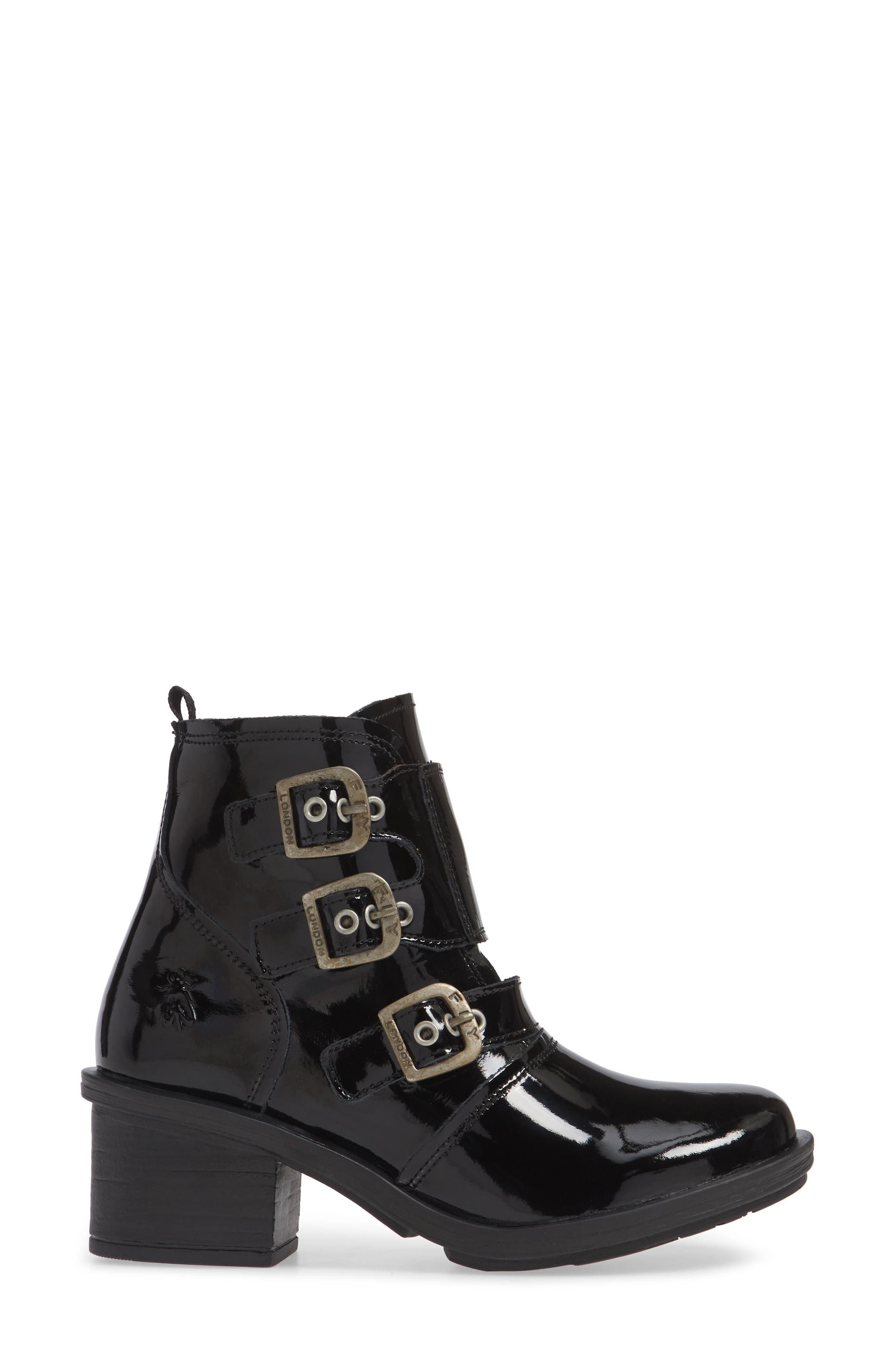 FLY LONDON, Crip Buckle Boot, Alternate thumbnail 3, color, BLACK PATENT LEATHER