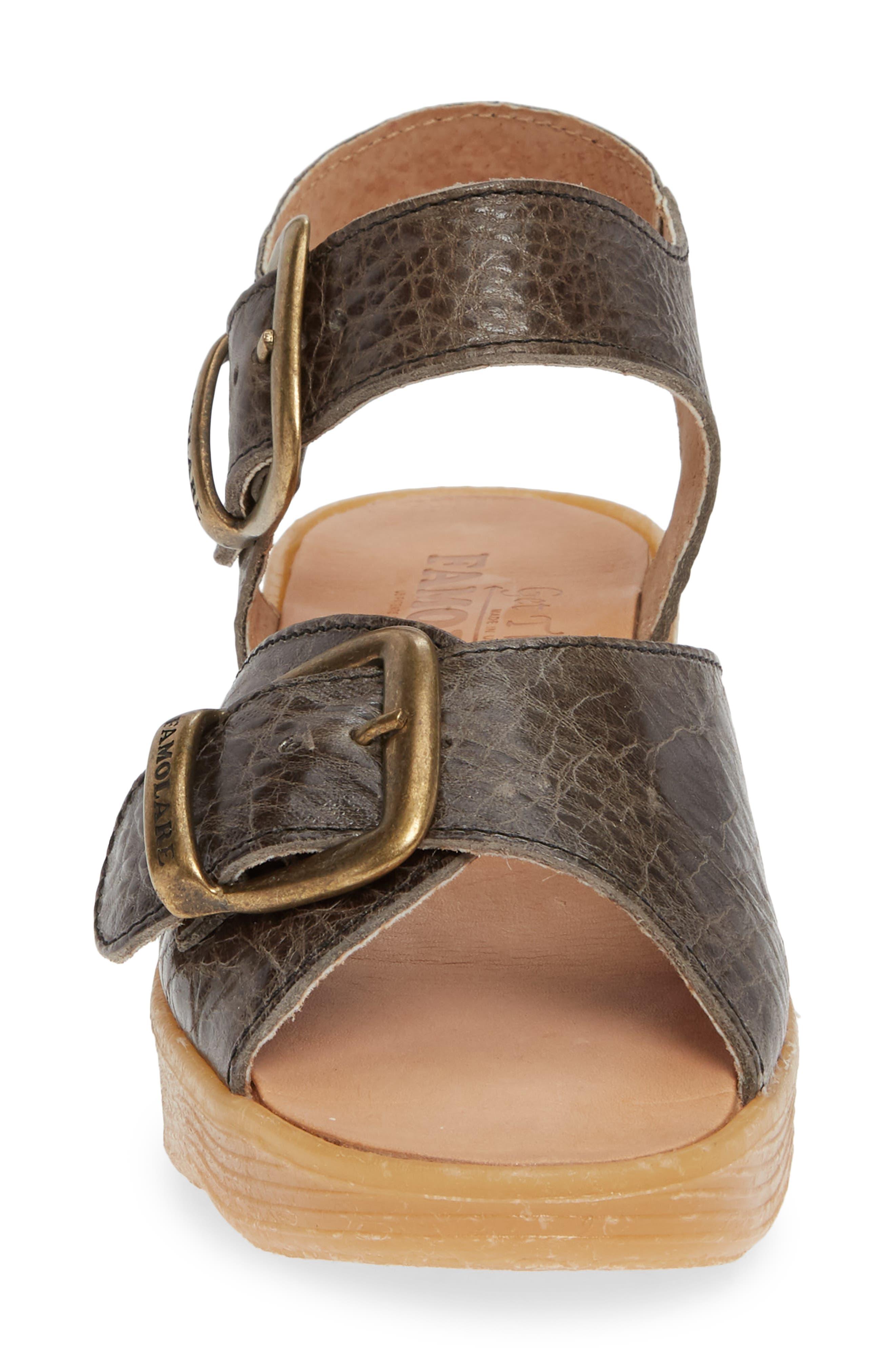 FAMOLARE, Double Play Platform Sandal, Alternate thumbnail 4, color, STEEL SUEDE
