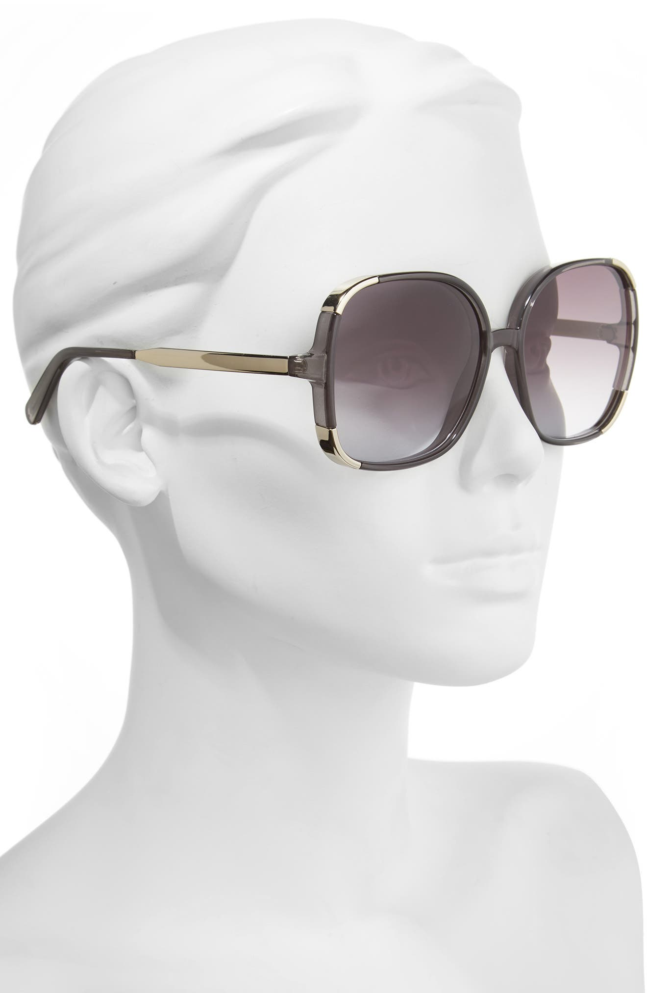 CHLOÉ, Myrte 61mm Gradient Lens Square Sunglasses, Alternate thumbnail 2, color, 020
