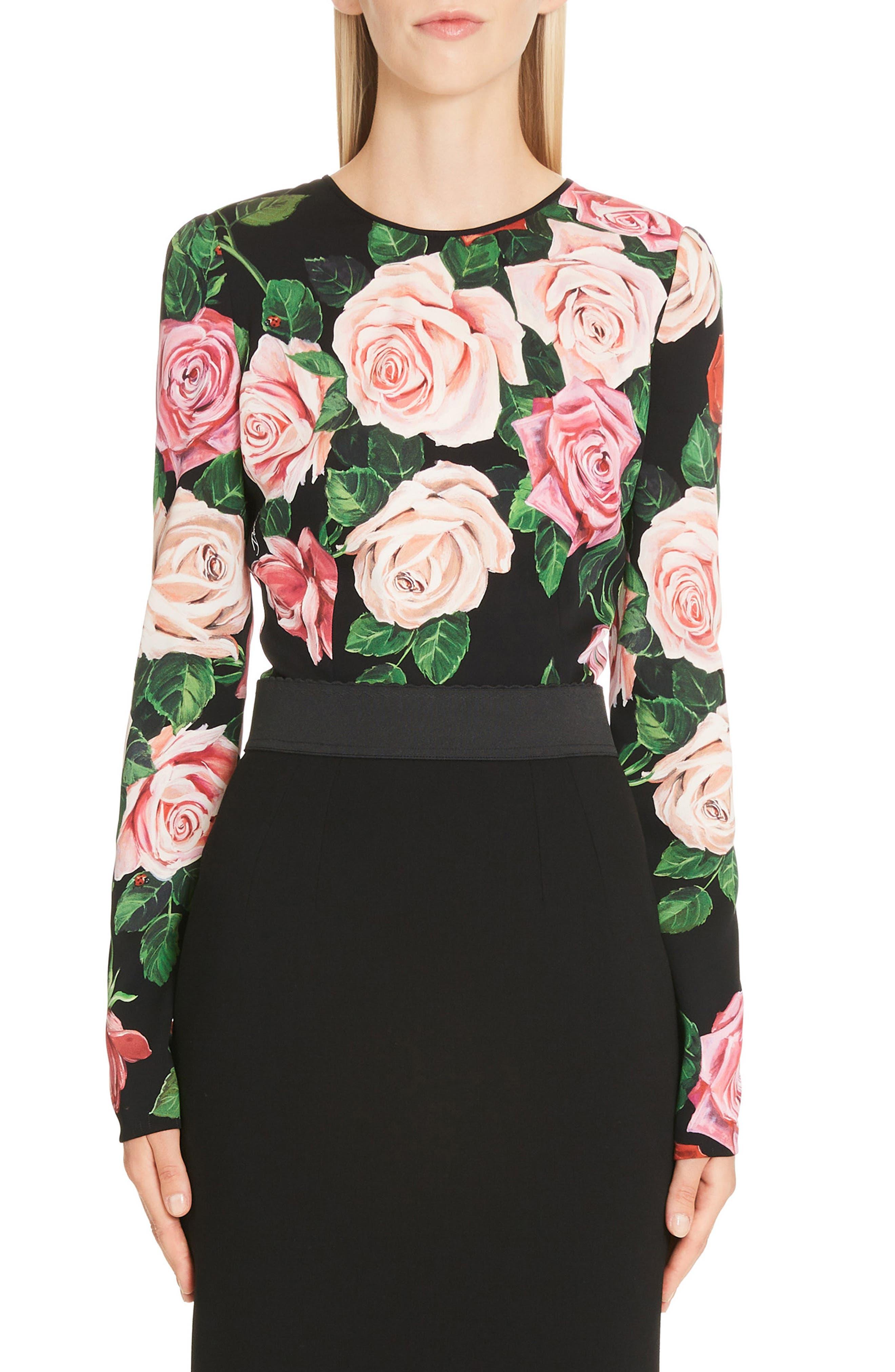 DOLCE&GABBANA Rose Print Stretch Silk Top, Main, color, BLACK ROSE
