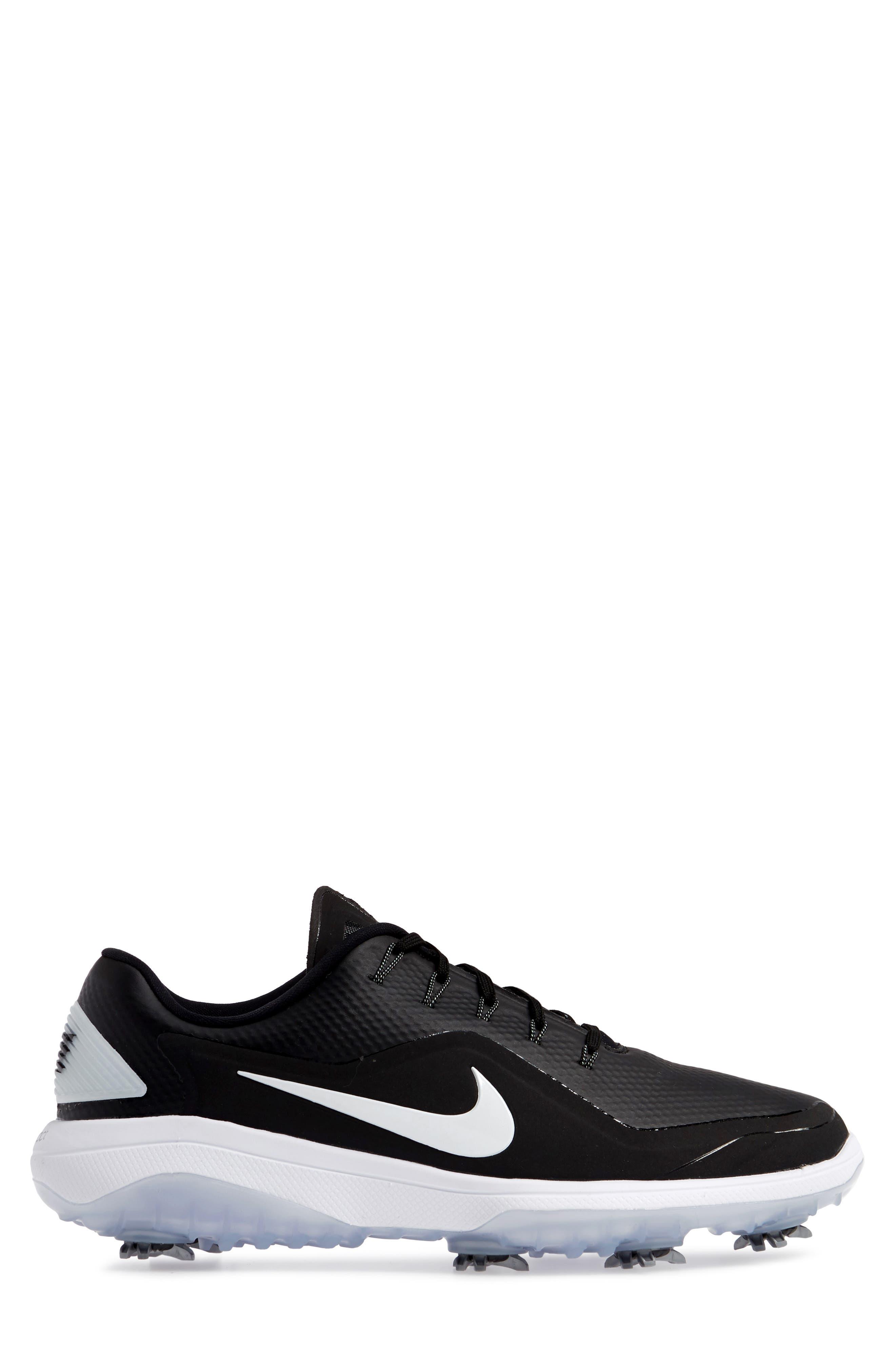 NIKE, React Vapor 2 Golf Shoe, Alternate thumbnail 3, color, BLACK/ METALLIC WHITE