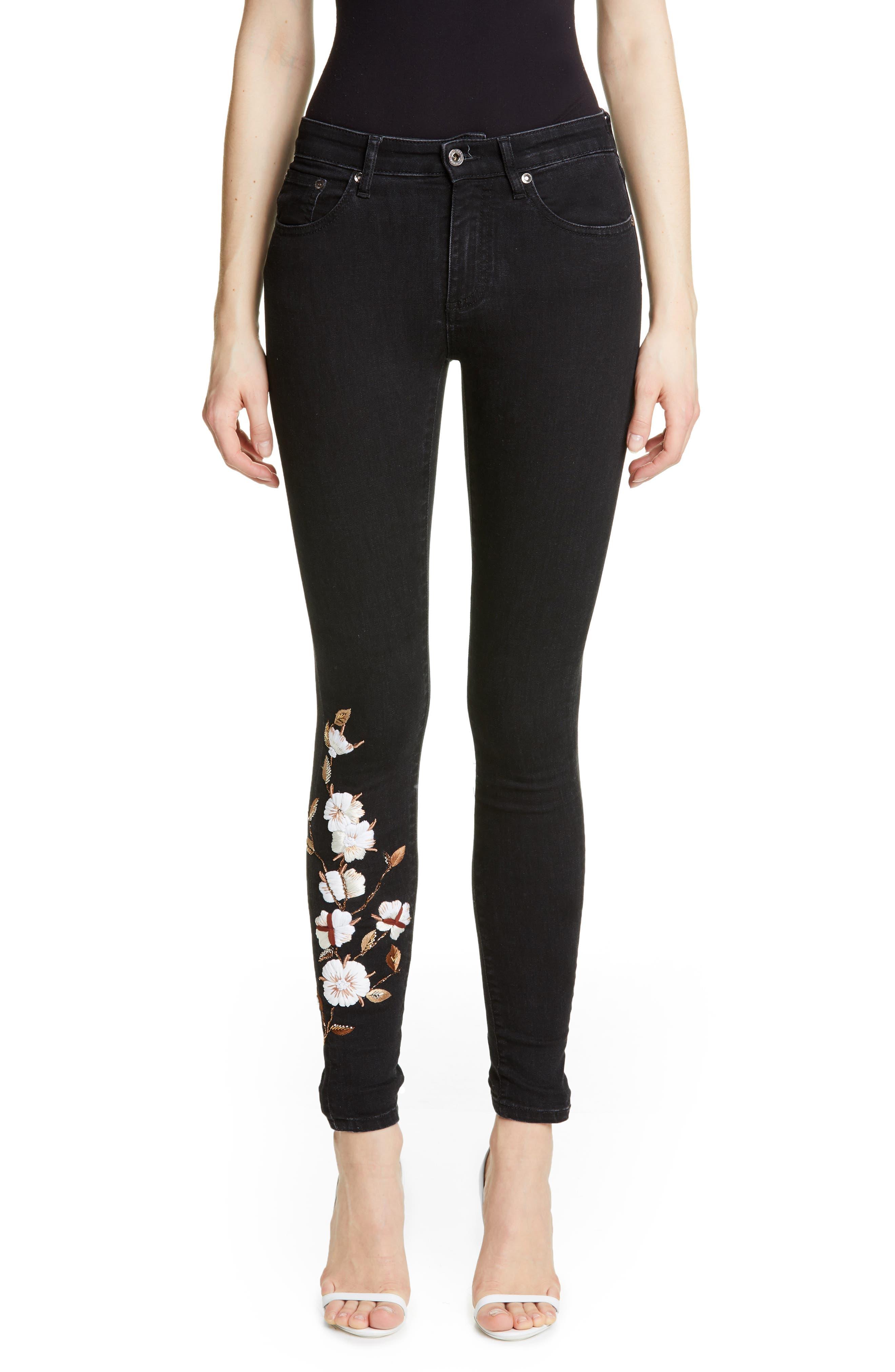 OFF-WHITE Floral Embroidered Diagonal Stripe Skinny Jeans, Main, color, VINTAGE BLACK