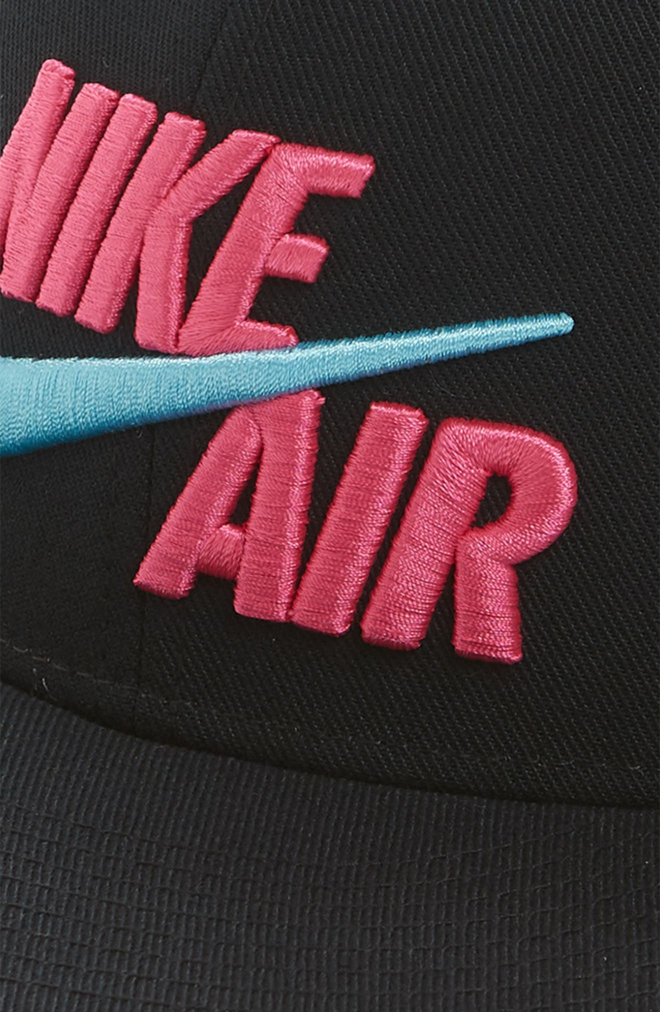 NIKE, Air True Snapback Baseball Cap, Alternate thumbnail 3, color, BLACK/ LASER FUCHSIA