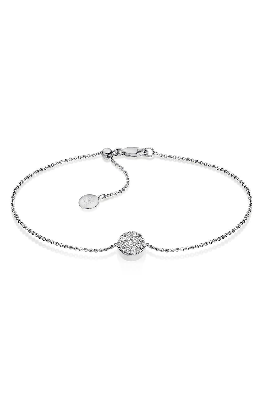 MONICA VINADER 'Ava' Diamond Button Bracelet, Main, color, SILVER