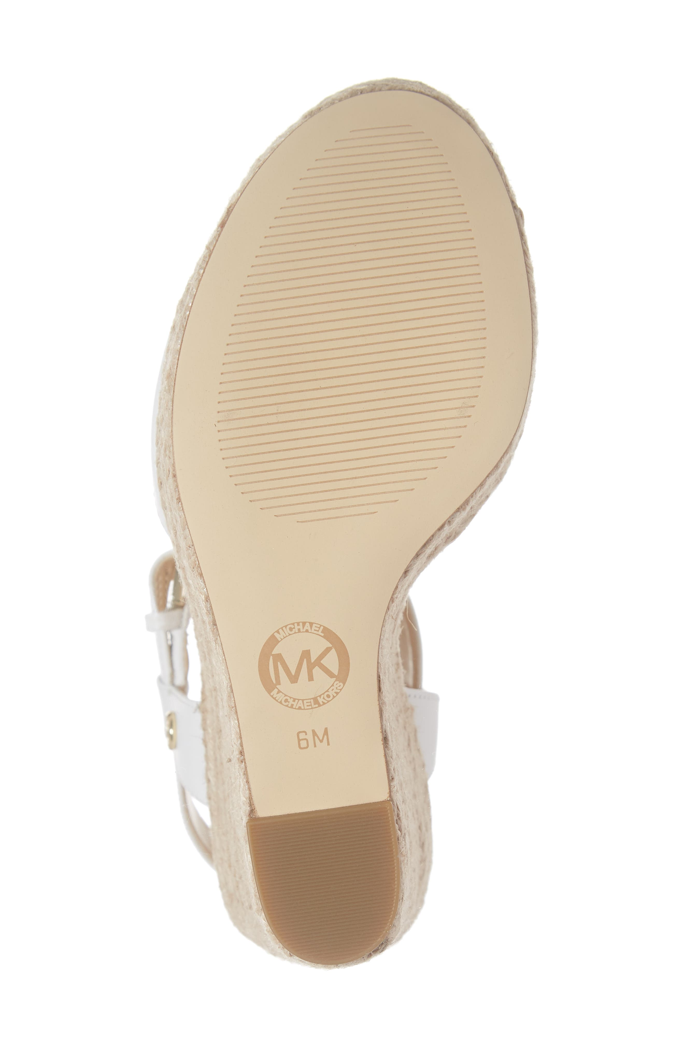 MICHAEL MICHAEL KORS, Carlyn Espadrille Wedge Sandal, Alternate thumbnail 6, color, 100