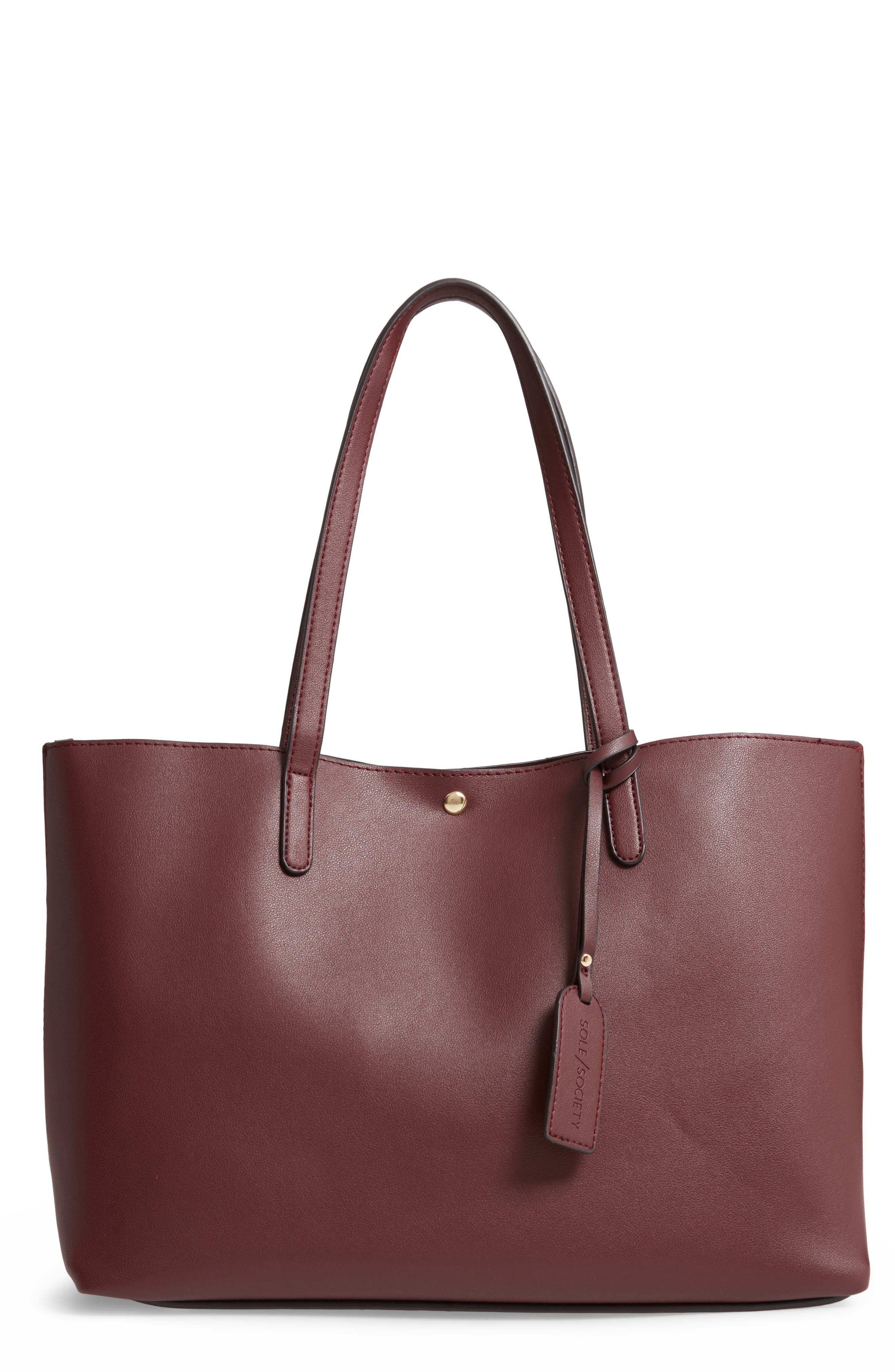 SOLE SOCIETY, Zeda Faux Leather Tote, Main thumbnail 1, color, 930