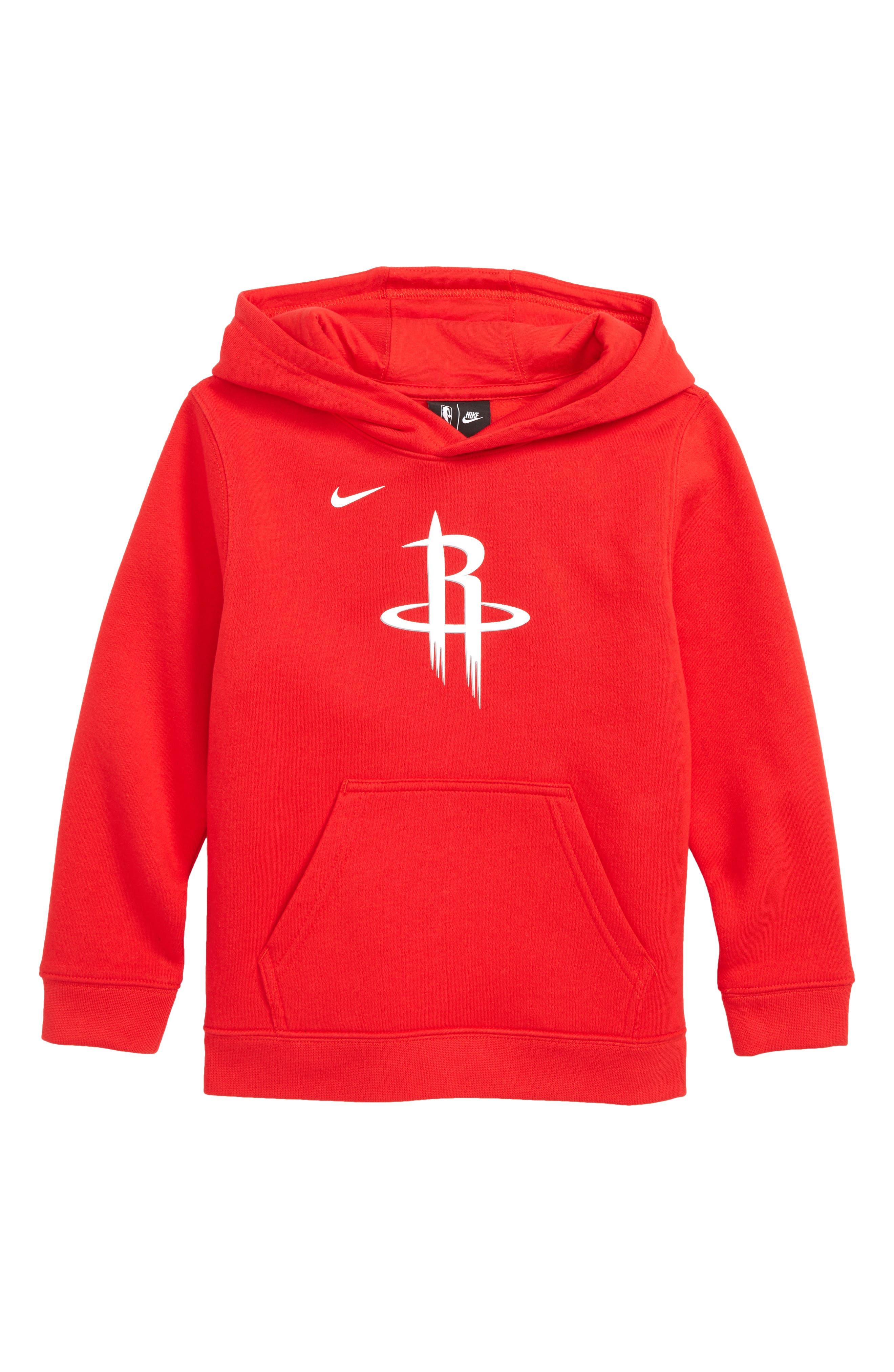 NIKE, Houston Rockets Hoodie, Main thumbnail 1, color, UNIVERSITY RED