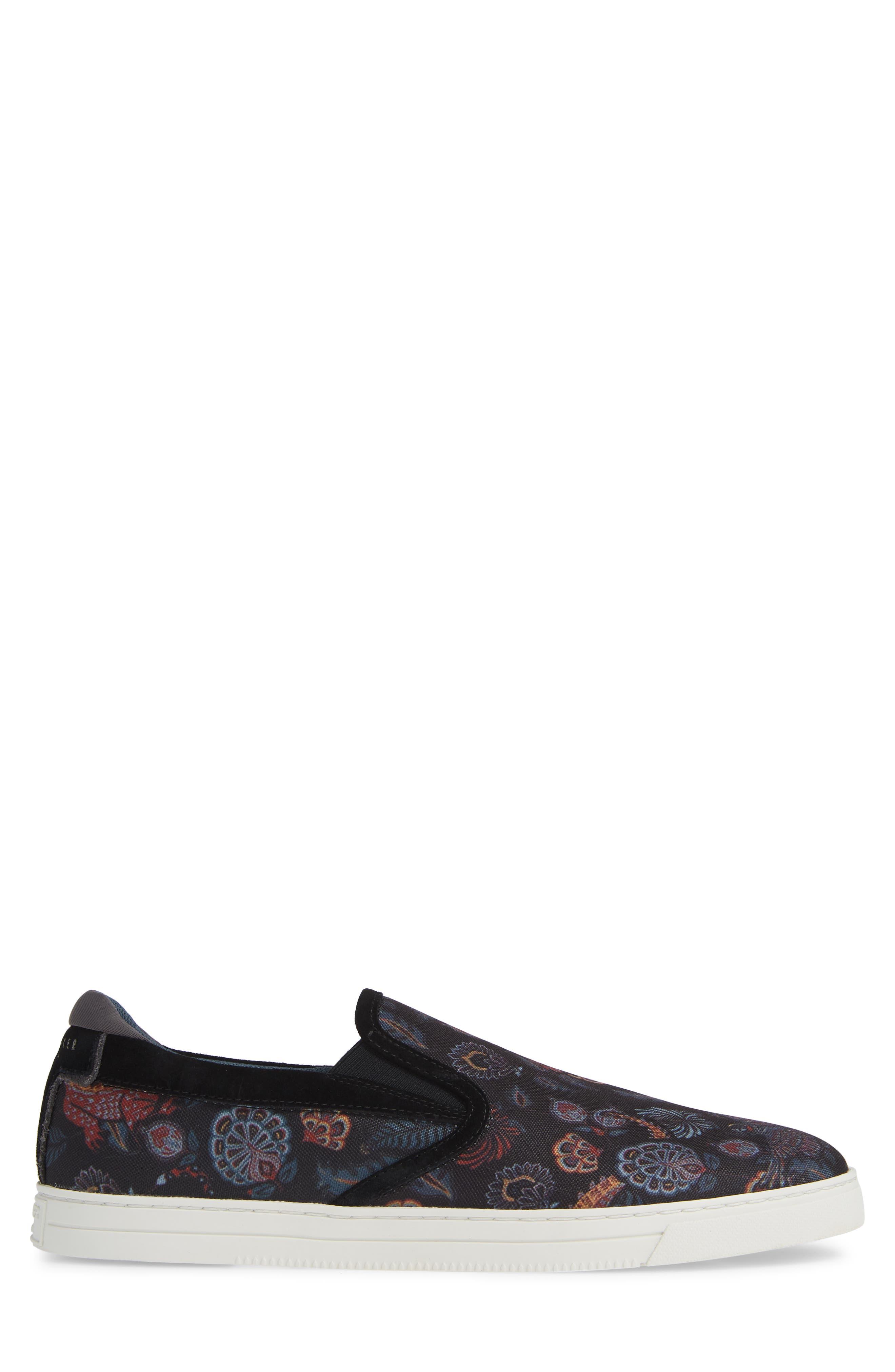 TED BAKER LONDON, Mhako Slip-On Sneaker, Alternate thumbnail 3, color, BLACK/ GREY