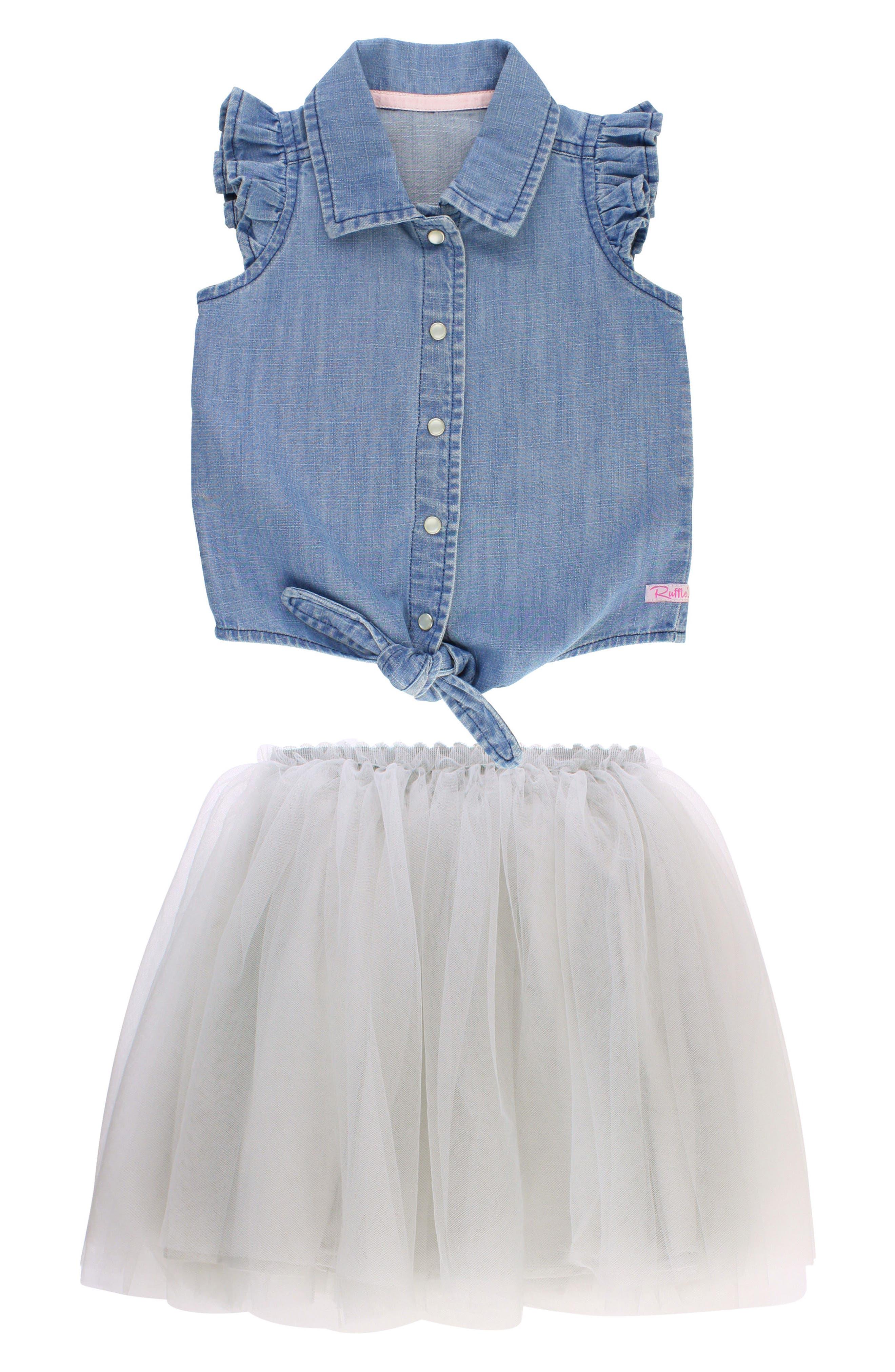 RUFFLEBUTTS, Chambray Tie Top & Tulle Skirt Set, Main thumbnail 1, color, GRAY