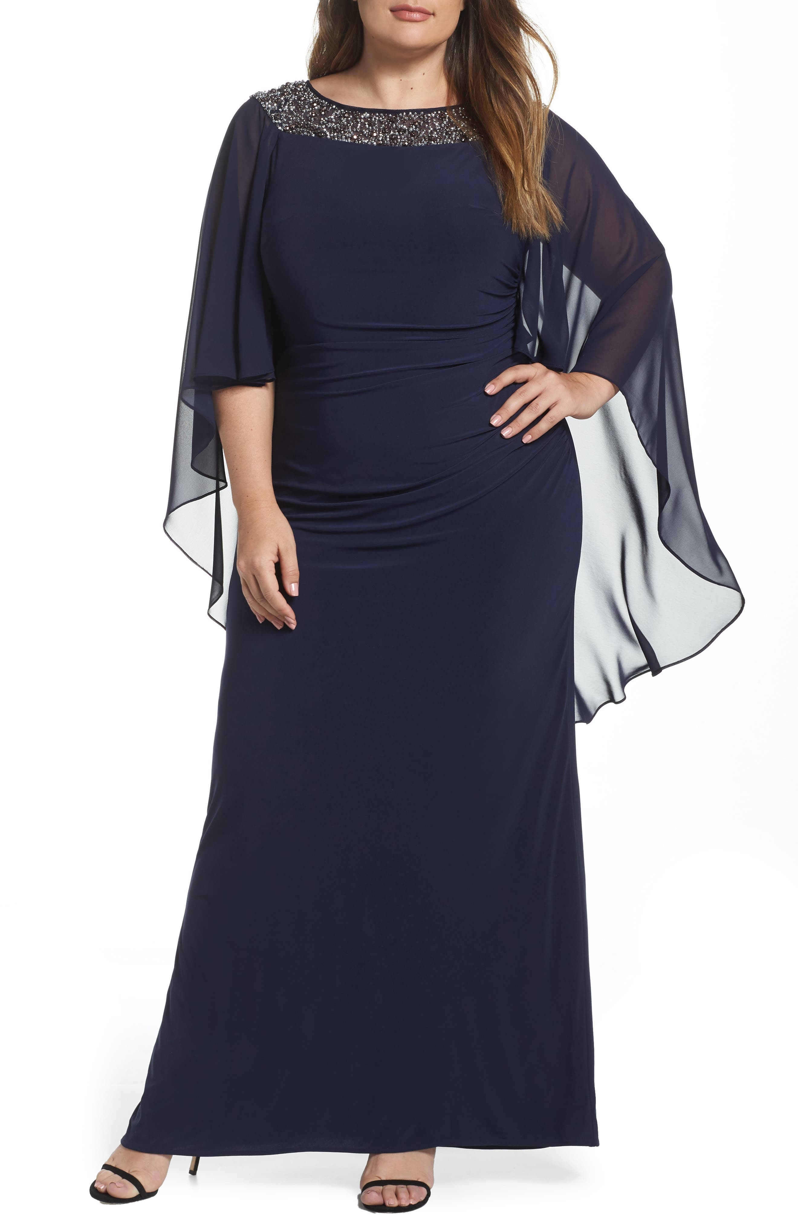 XSCAPE, Chiffon Cape Sleeve Beaded Neckline Gown, Main thumbnail 1, color, NAVY/ SILVER