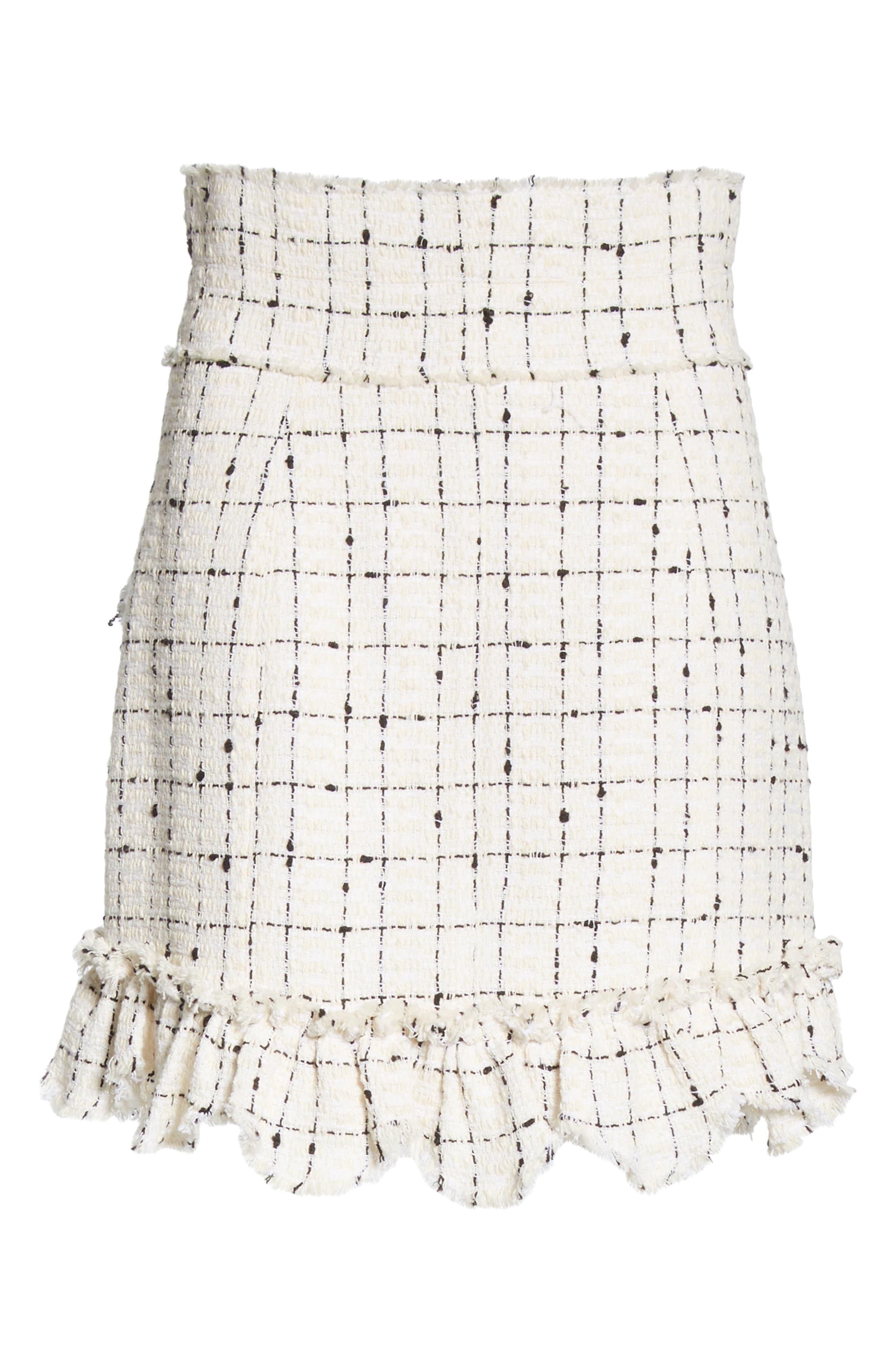 REBECCA TAYLOR, Scallop Hem Tweed Skirt, Alternate thumbnail 6, color, CREAM COMBO