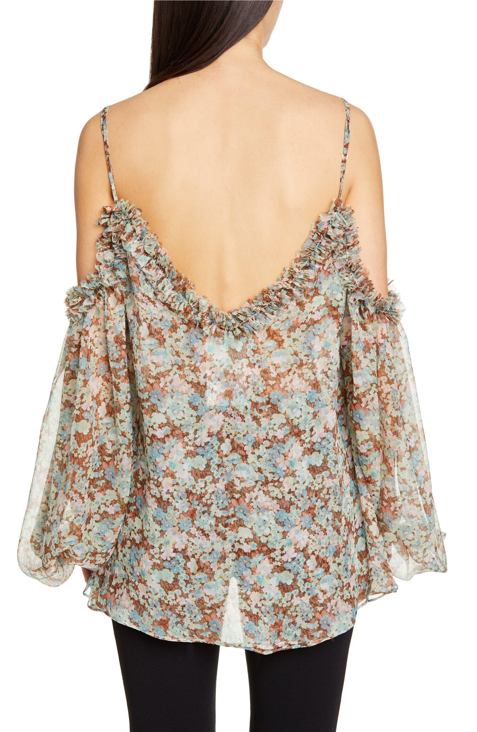 9de167581ae34 Stella McCartney Meadow Floral Print Cold Shoulder Blouse