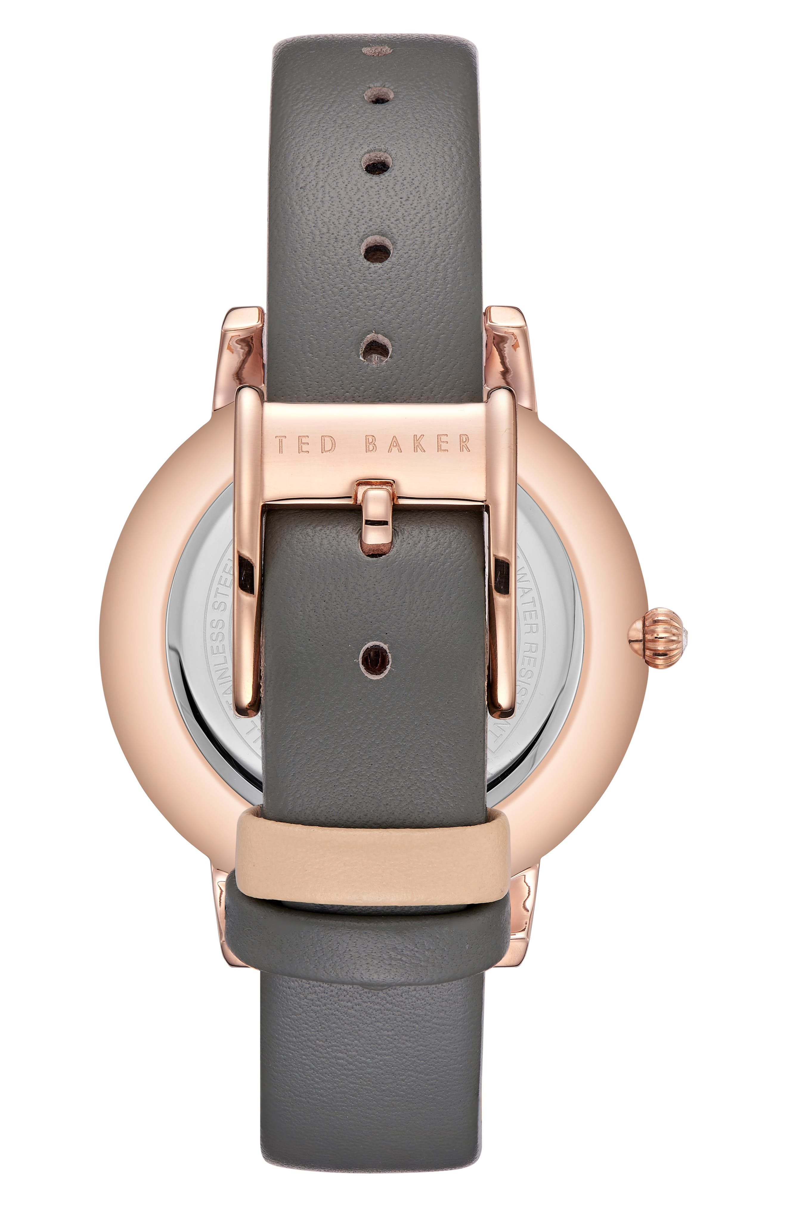 TED BAKER LONDON, Kate Leather Strap Watch, 40mm, Alternate thumbnail 2, color, 020