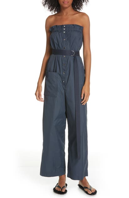 Tibi Suits BELTED WIDE LEG NYLON JUMPSUIT WITH REMOVABLE STRAPS