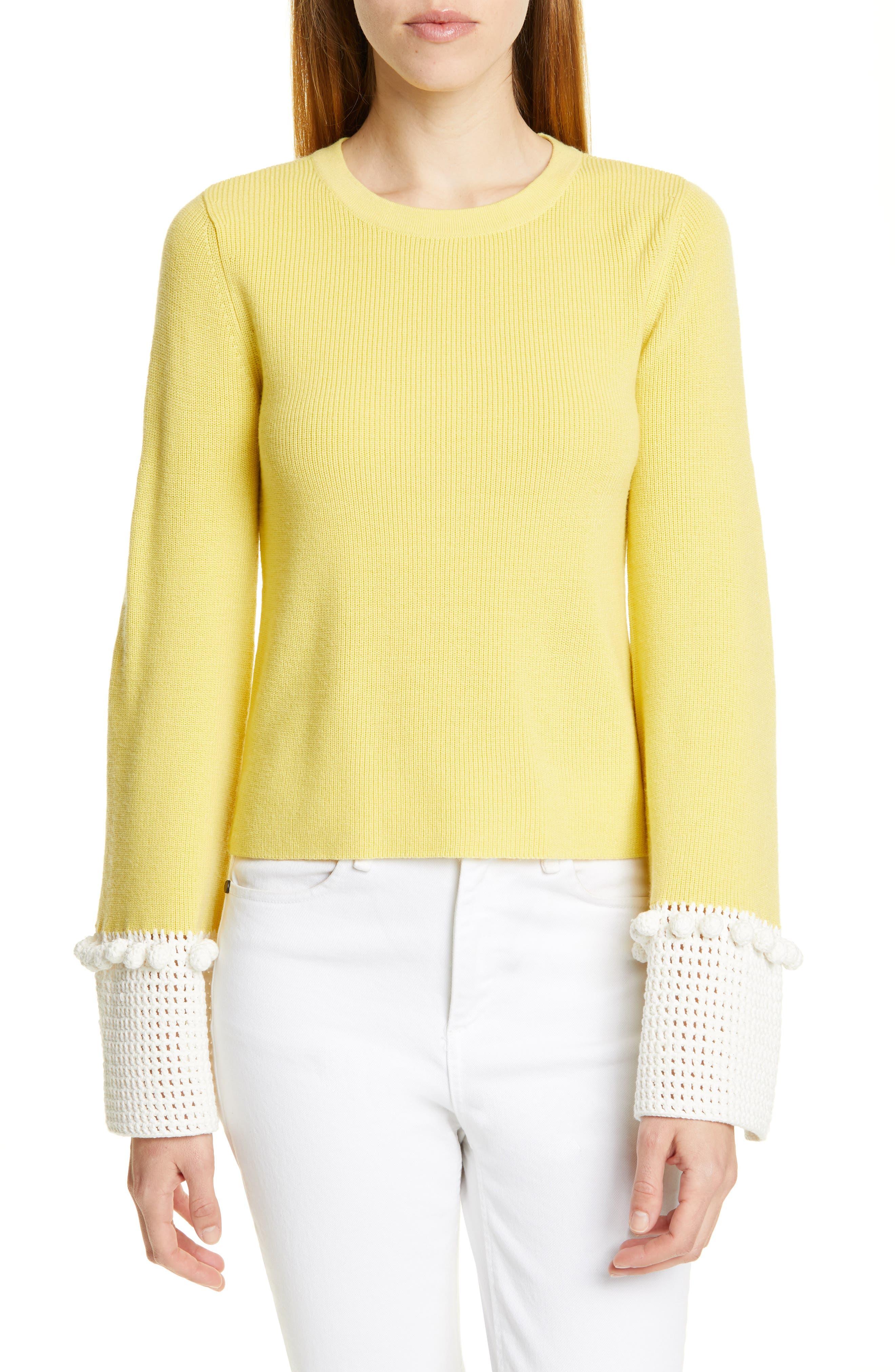 Staud Leo Crochet Cuff Merino Wool Blend Sweater, Yellow