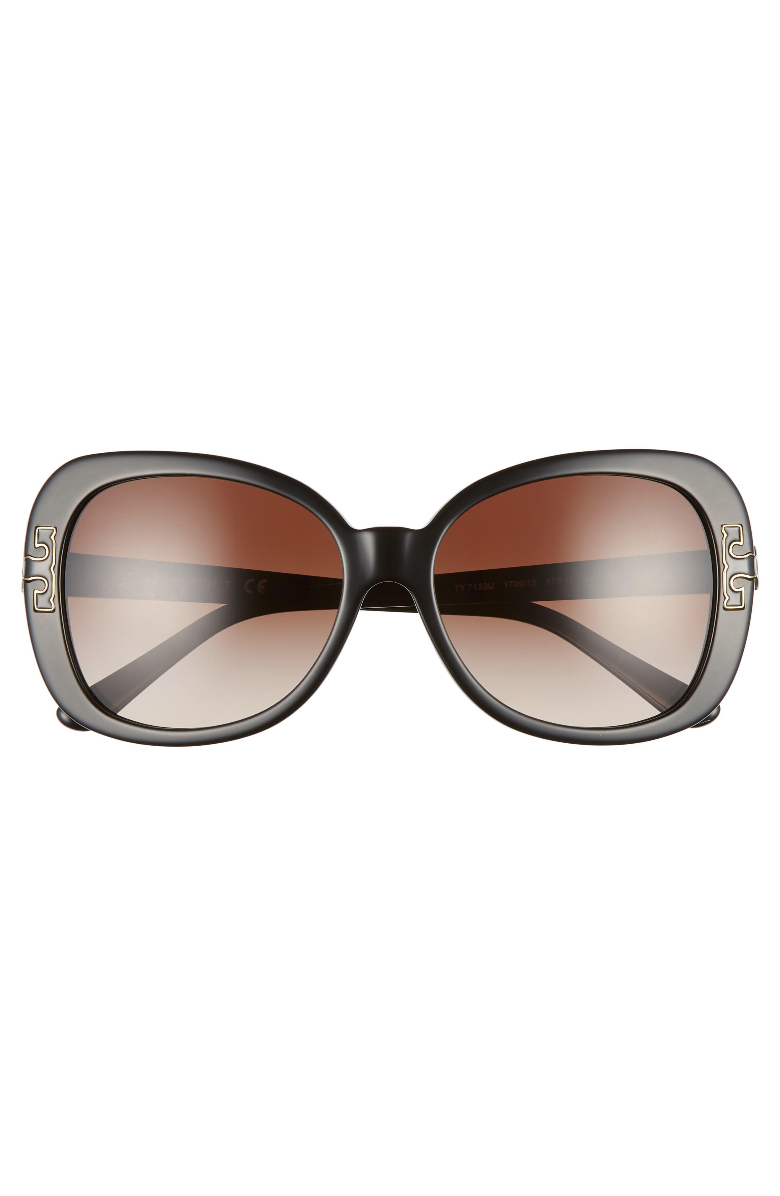 TORY BURCH, 57mm Logo T Square Sunglasses, Alternate thumbnail 3, color, BLACK GRADIENT