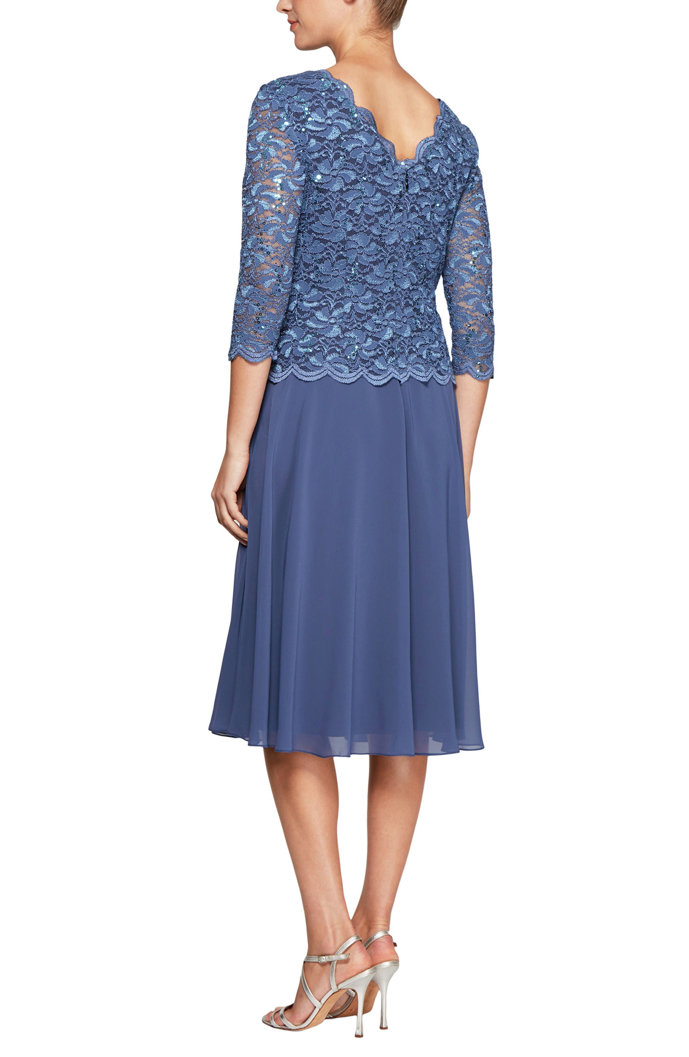 ALEX EVENINGS, Mock Two-Piece Tea Length Dress, Alternate thumbnail 2, color, WEDGEWOOD