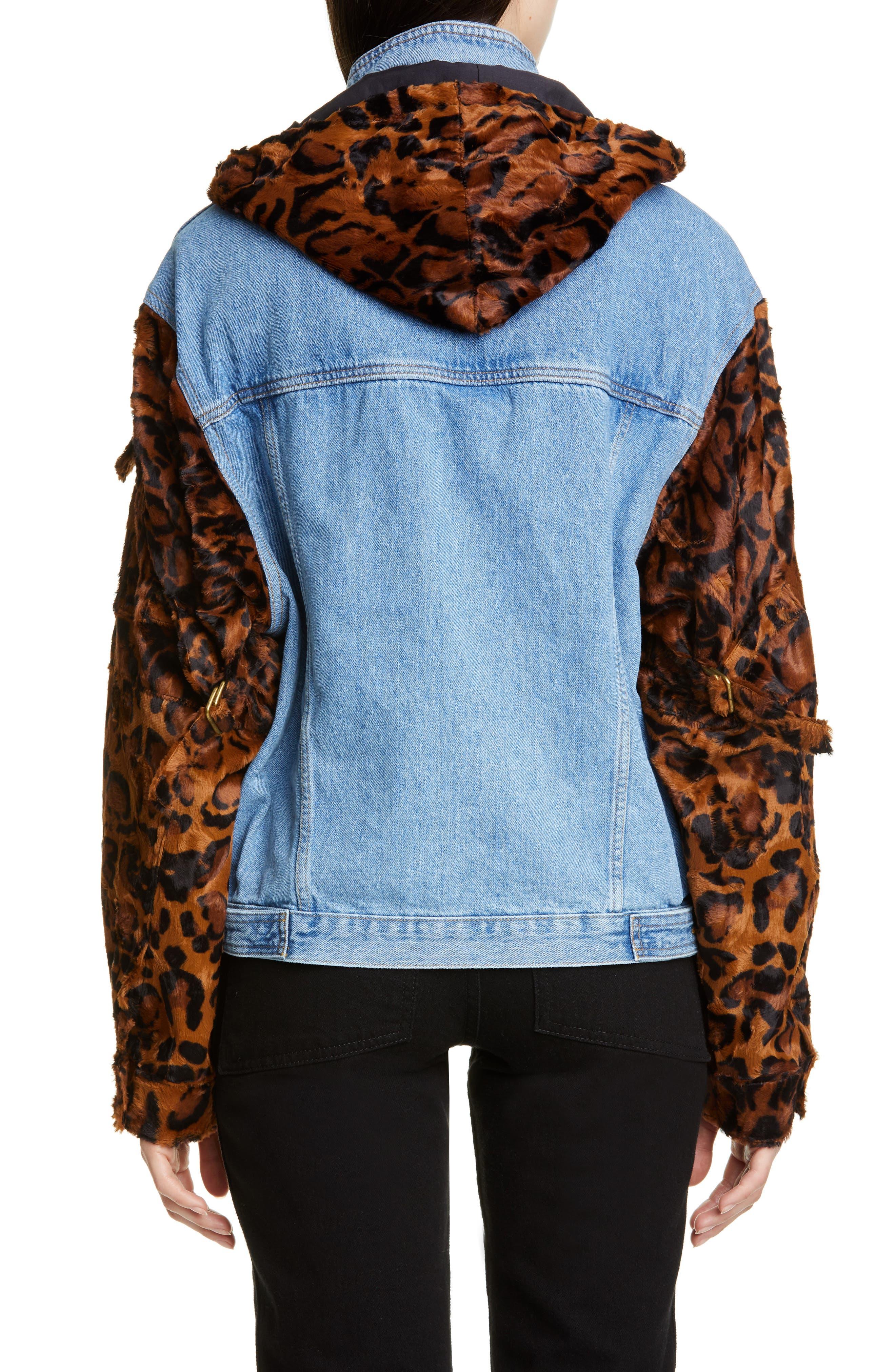 MARTINE ROSE, Leopard Hooded Denim Jacket, Alternate thumbnail 3, color, LIGHT DENIM DARK